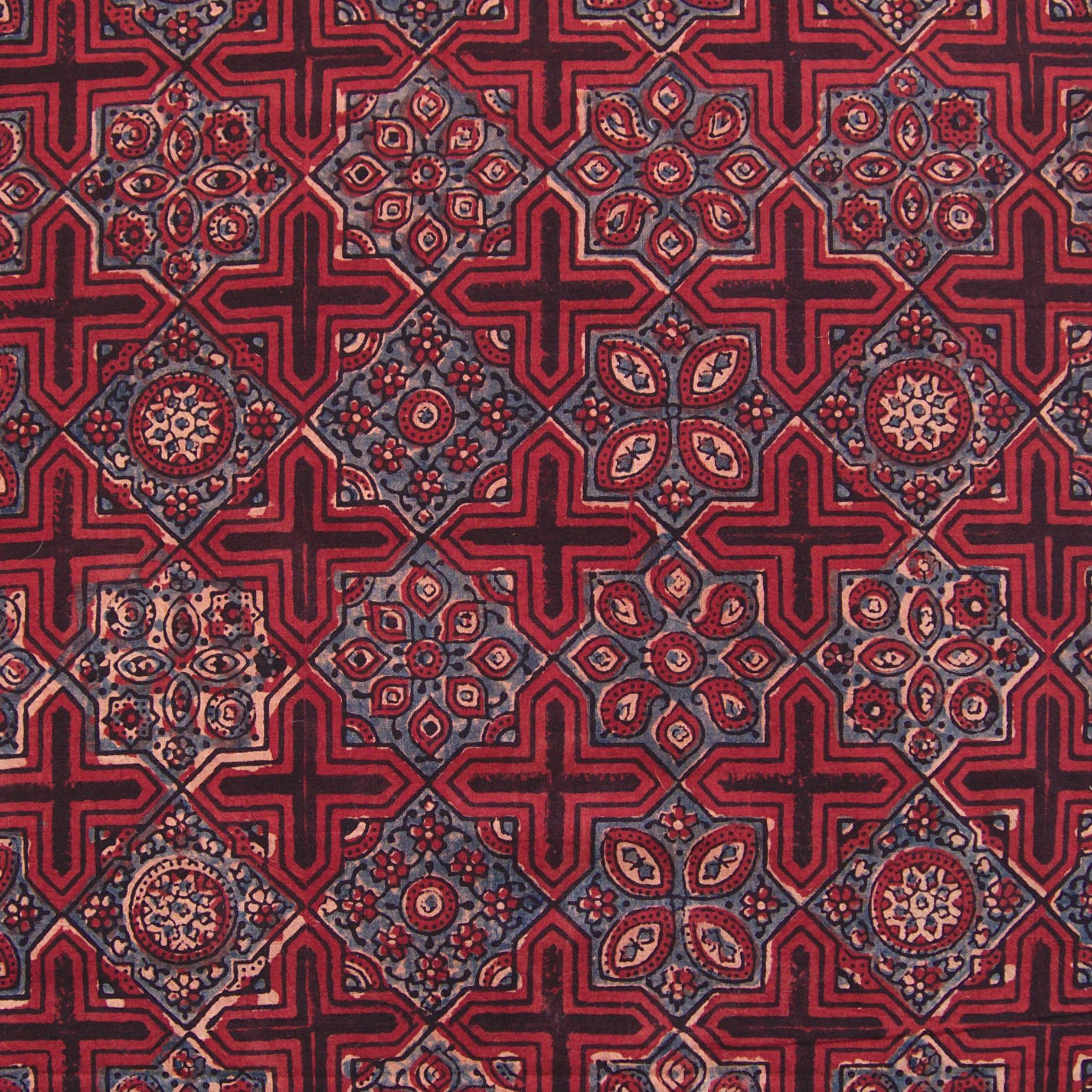 Block Printed Fabric, 100% Cotton, Ajrak Design: Red Base, Black Cross, Blue Design. Close Up