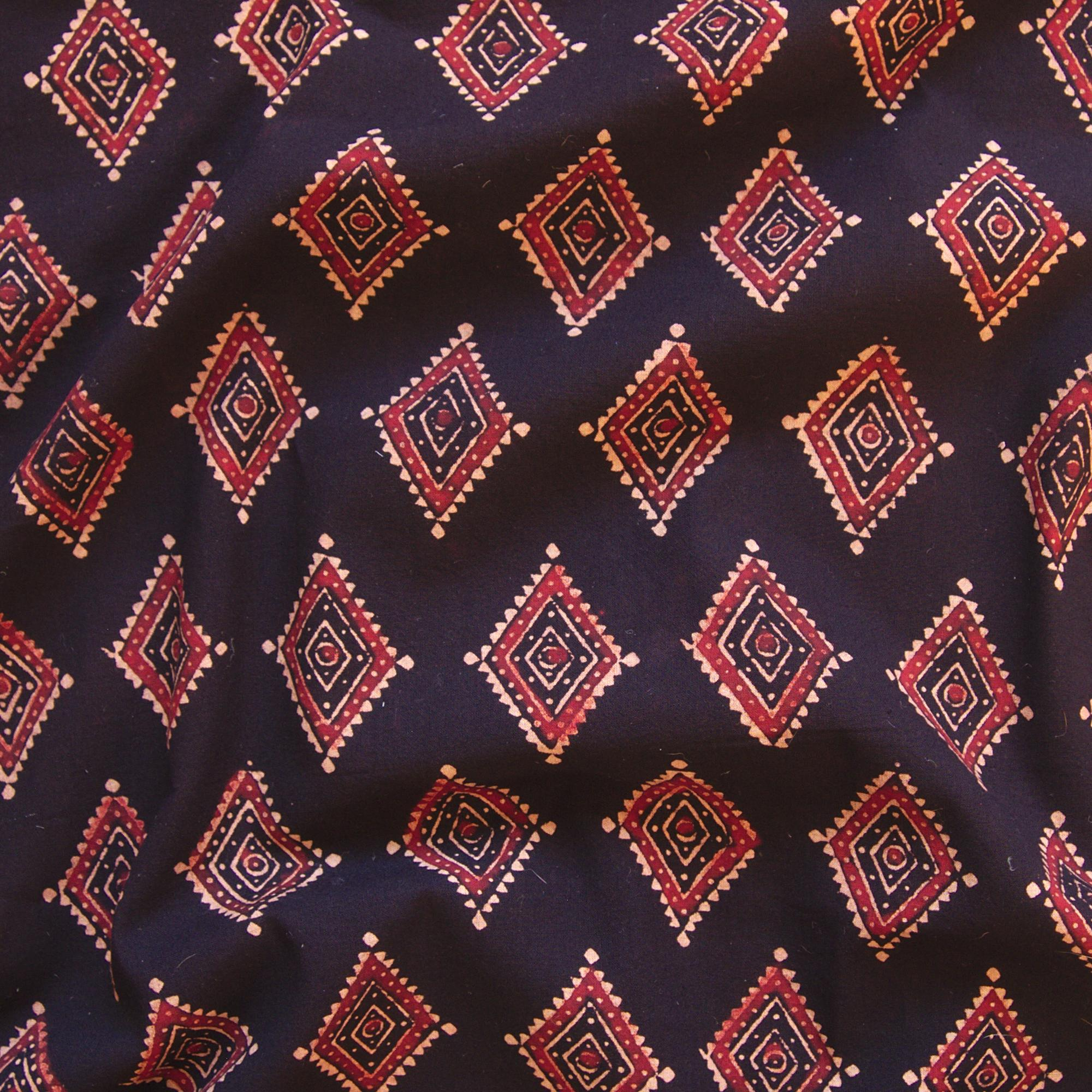 Block Printed Fabric, 100% Cotton, Ajrak Design: Black Base, Red, Beige Diamond. Contrast