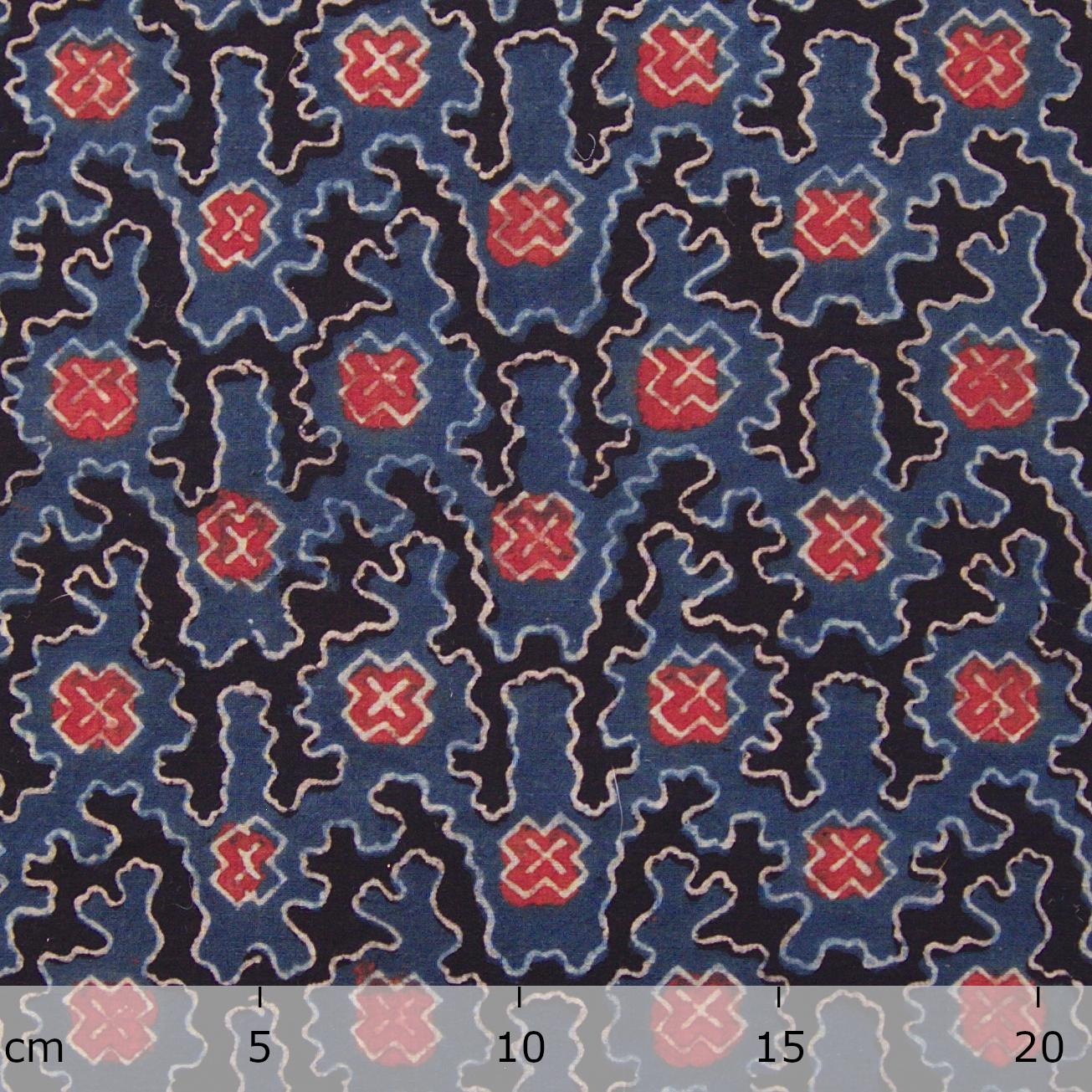Block Printed Fabric, 100% Cotton, Ajrak Design: Indigo Blue Base, Black, Madder Red, White Cloud. Ruler