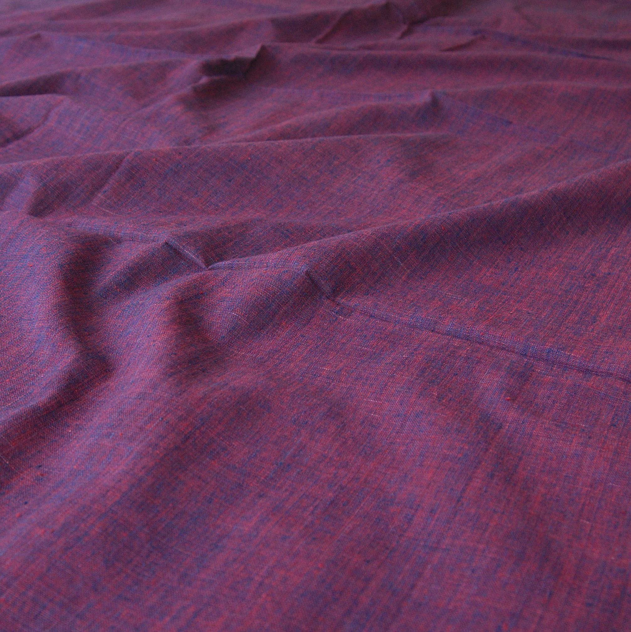100 % Handloom Woven Cotton - Cross Colour - Natural Indigo Warp, Red Alizarin Weft - Cross Colour - Contrast