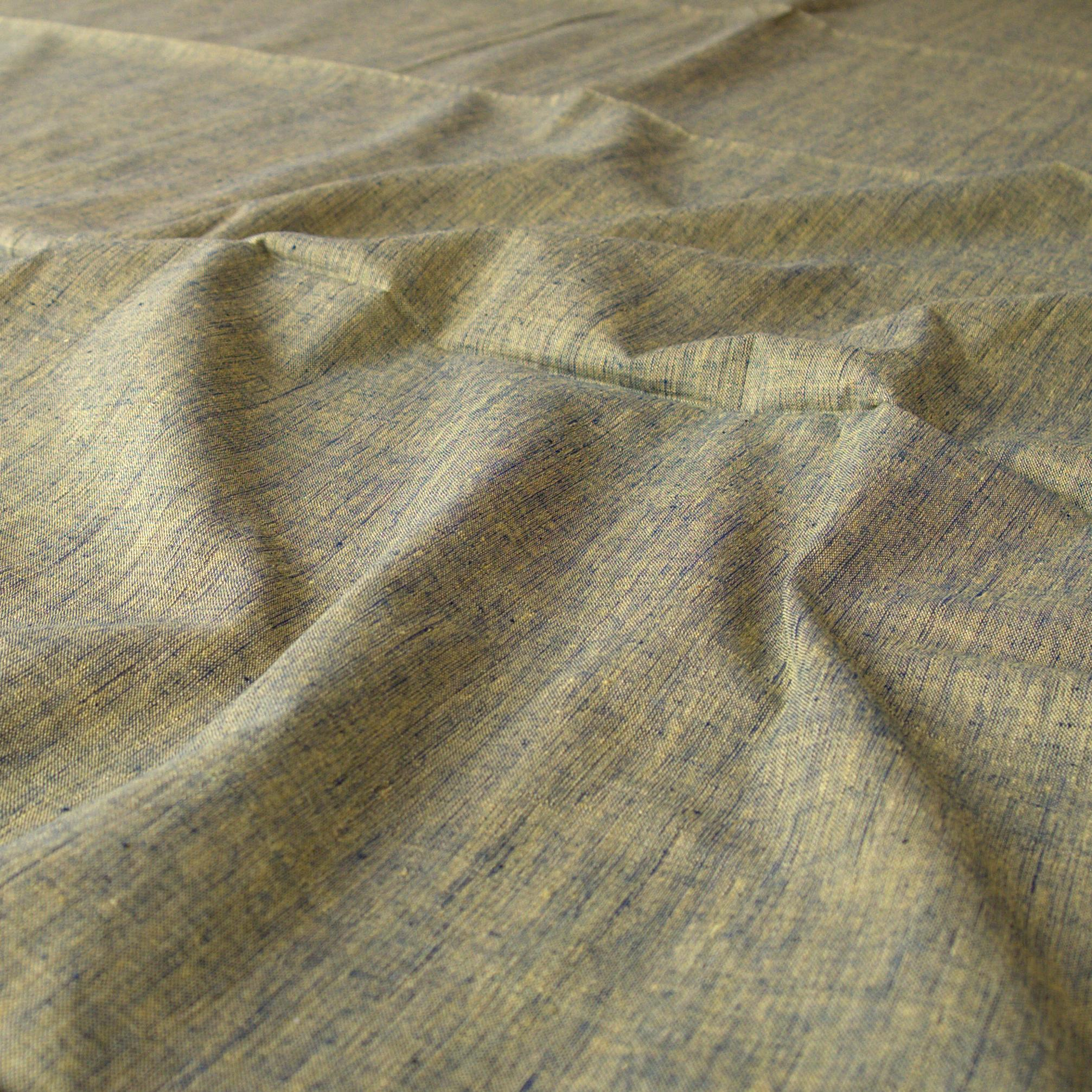 100 % Handloom Woven Cotton - Cross Colour - Pomegranate Yellow Warp, Natural Indigo Weft - Contrast