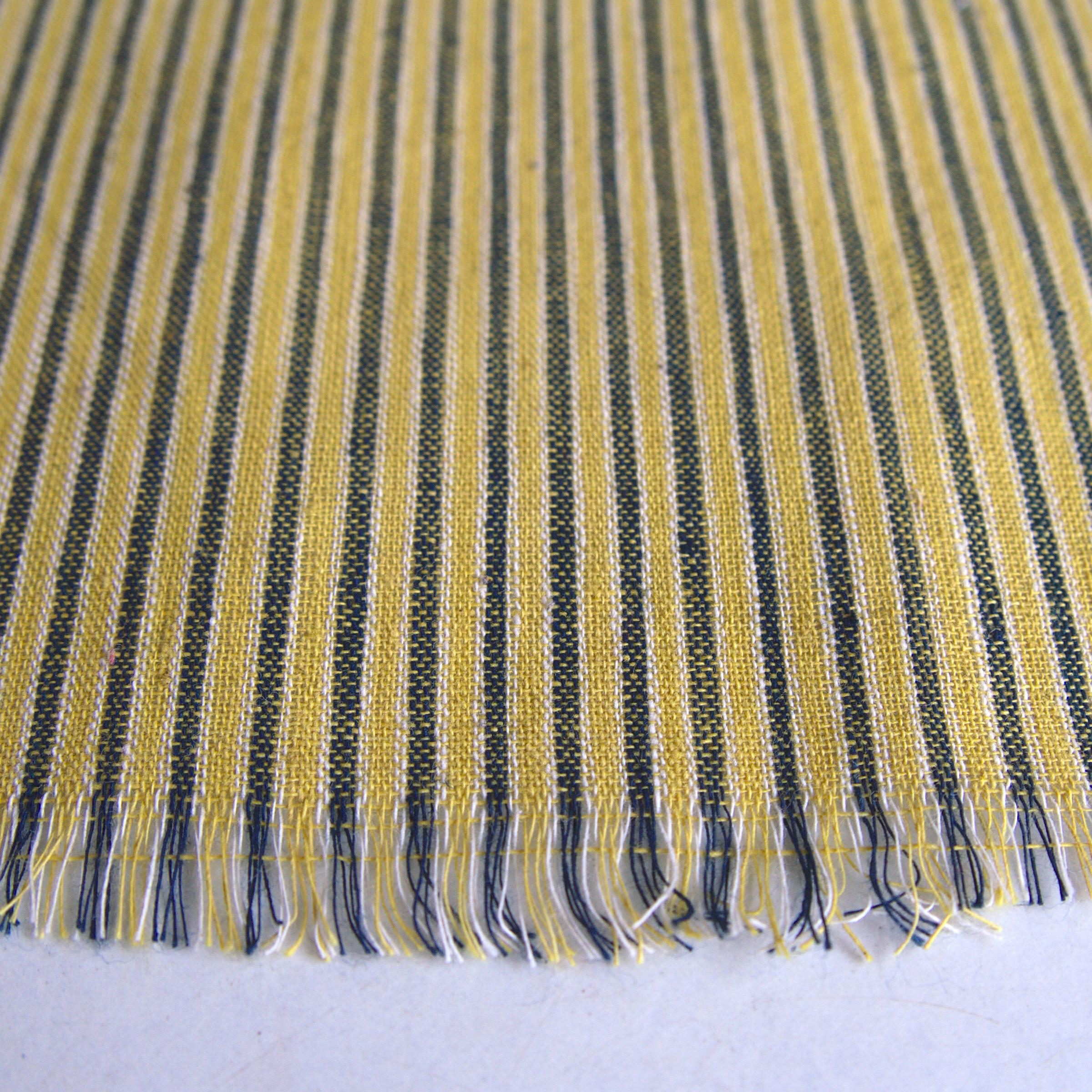 100% Handloom Cotton - Stripes - Pomegranate Yellow Warp & Weft, White and Indigo Warp - Close Up