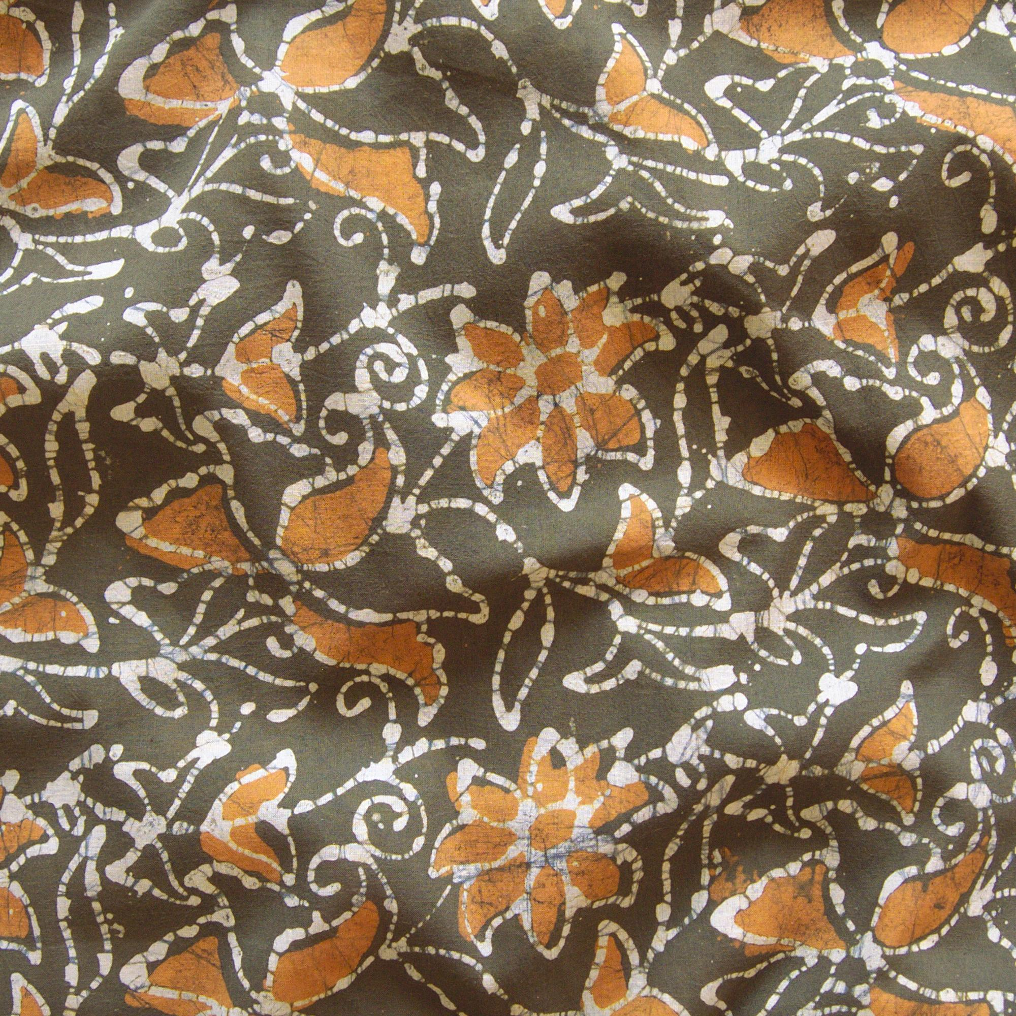 1 - SHA17 - 100% Block-Printed Batik Cotton Fabric From India - Clematis Motif - Contrast - Live