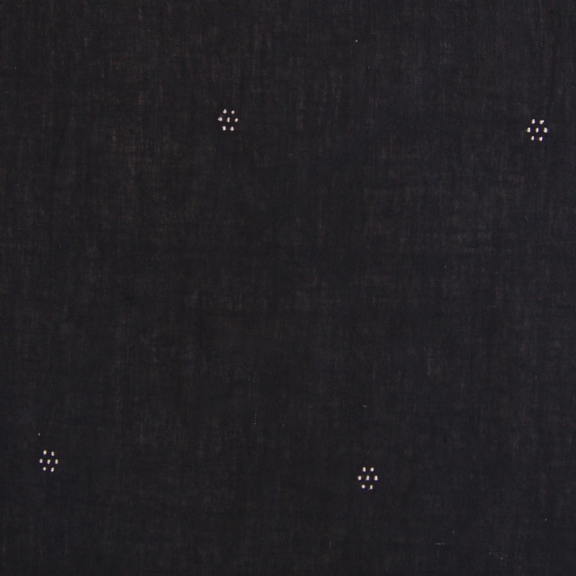 Handloom-Woven Organic Kala Cotton Fabric from India - Plain 1 by 1 Weave With Extra Knotted Weft - Tangalia Design - Black Reactive Dye - Flat