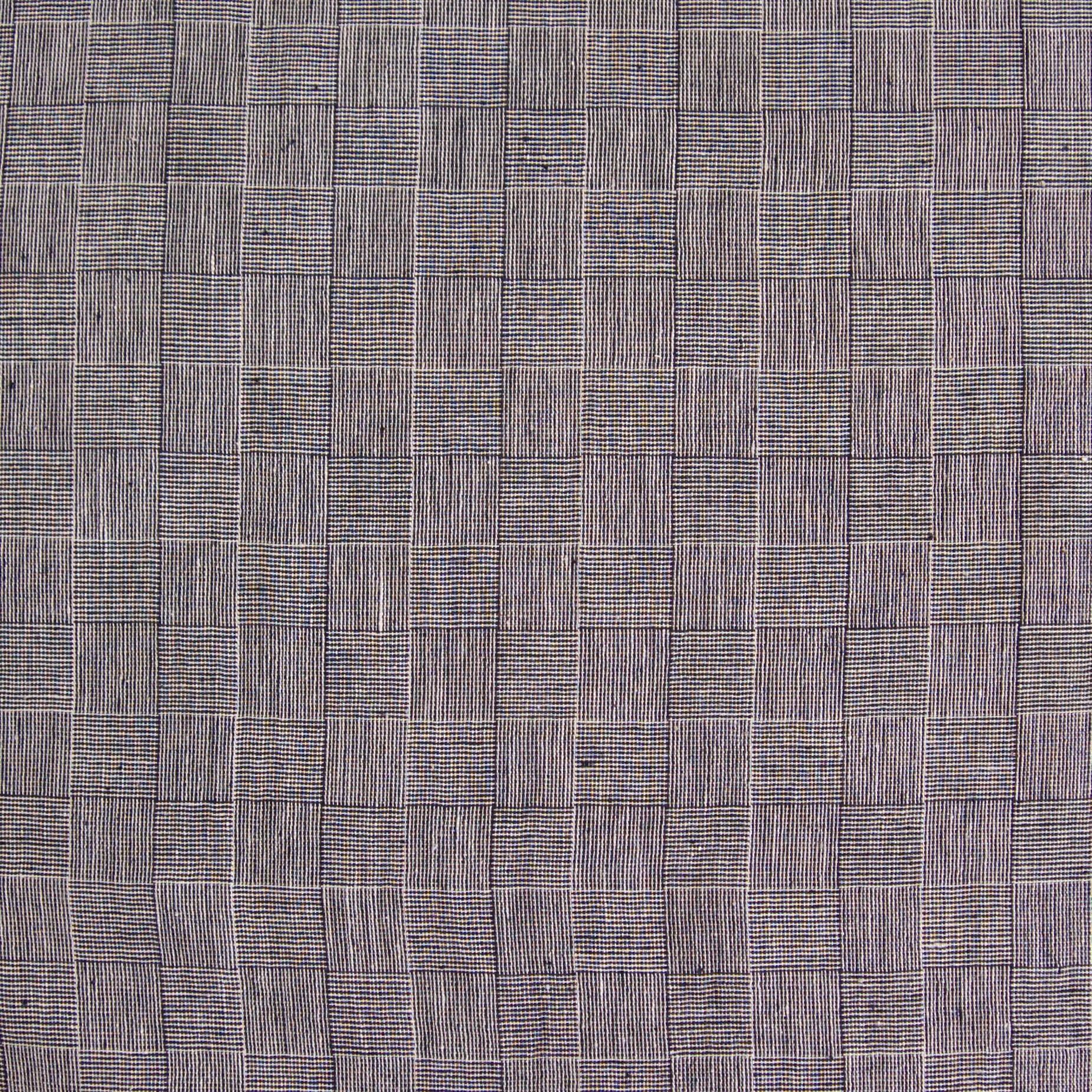 Indian Handloom-Woven Organic Kala Cotton Fabric - Plain 1 by 1 Weave - Checkers Design - Black Reactive Thread Dye - Flat