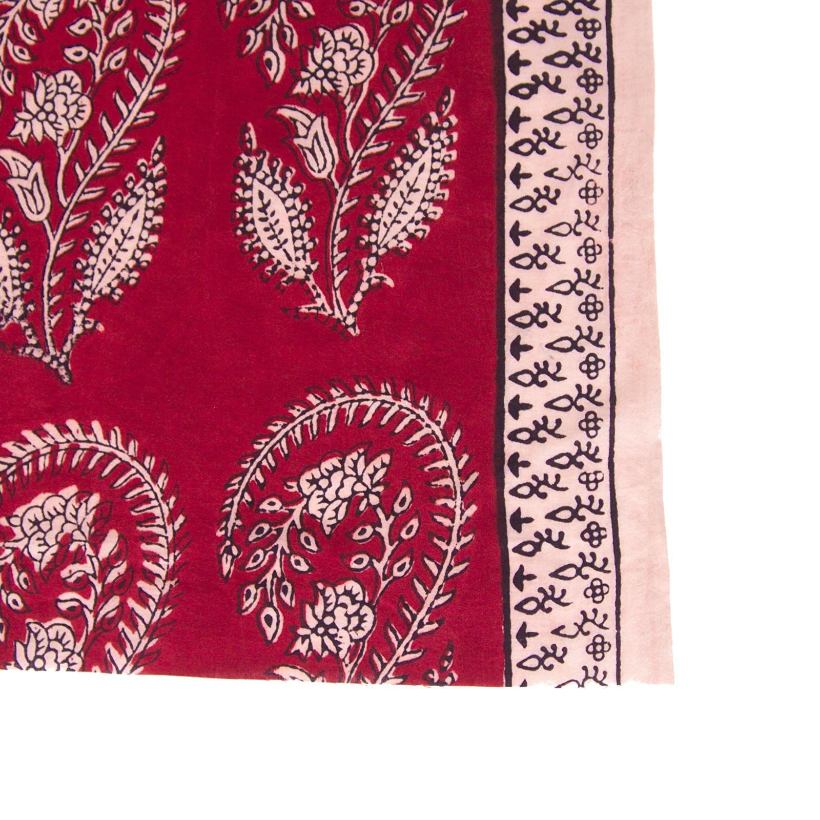 100% Block - Printed Cotton Fabric From India - Scorpion Design - Iron Rust Black & Alizarin Red Dyes - Border - Live