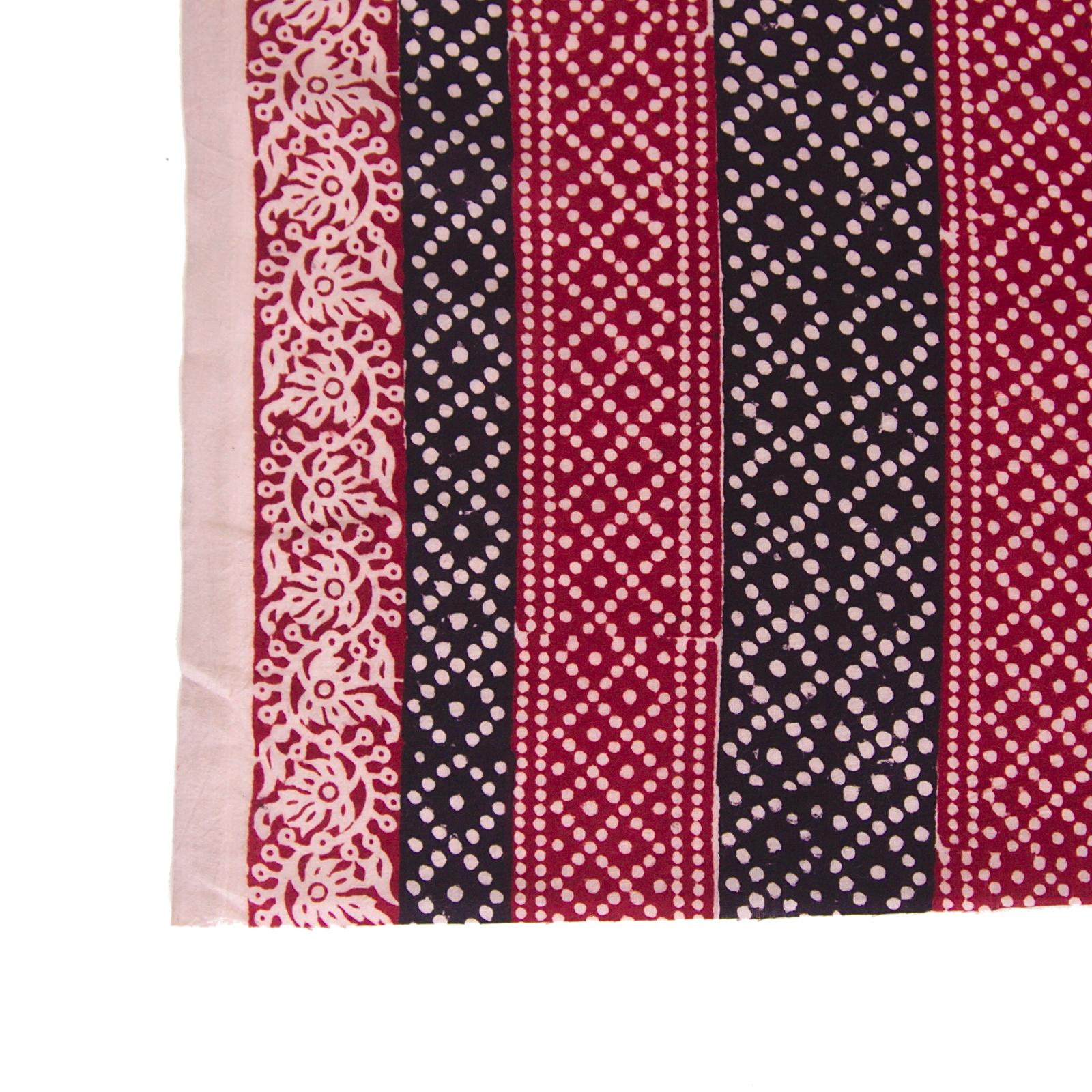 100% Block-Printed Cotton Fabric From India - Pixels Design - Iron Rust Black & Alizarin Red Dyes - Border - Live