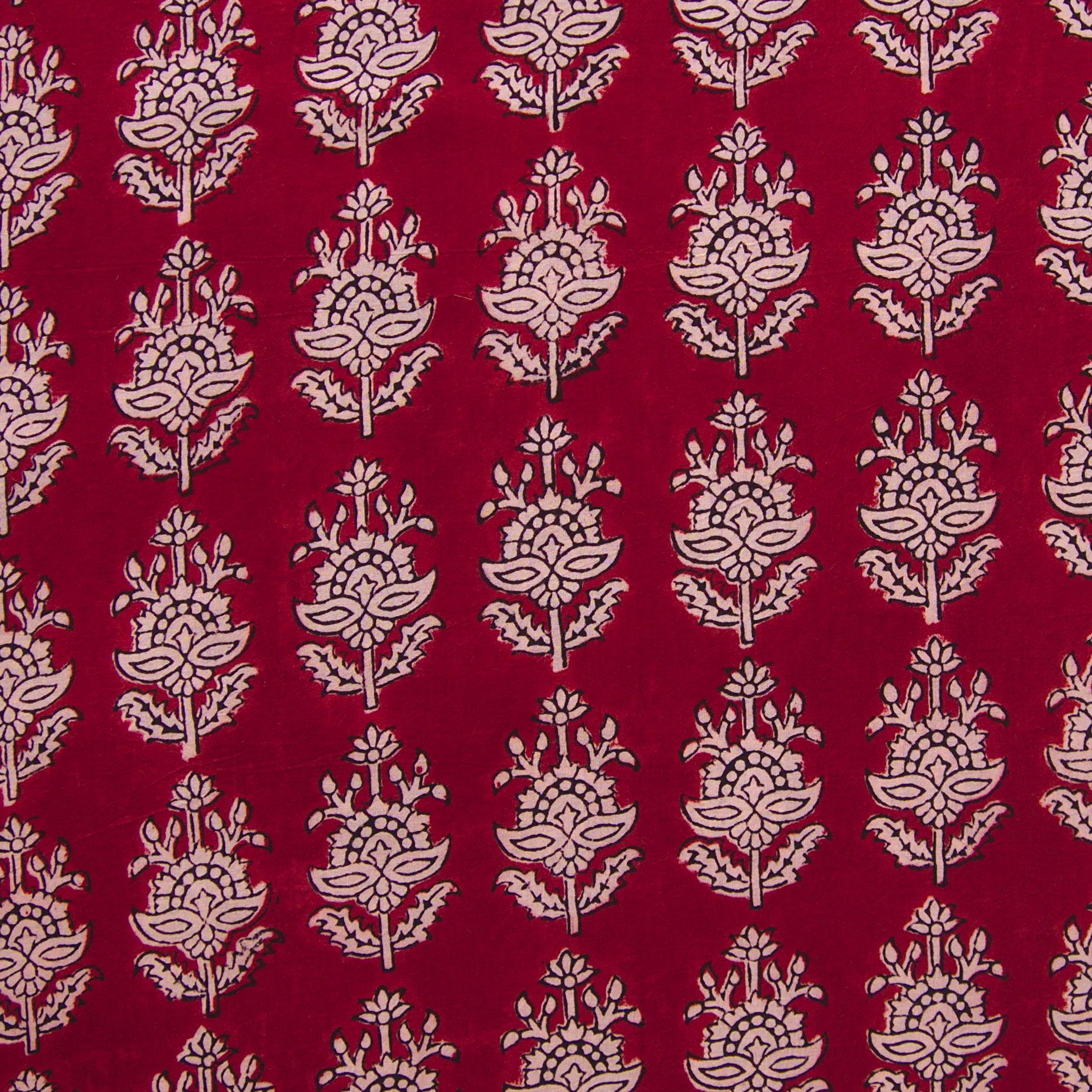 100% Block-Printed Cotton Fabric From India - Talkin' About Design - Iron Rust Black & Alizarin Red Dyes - Flat - Live