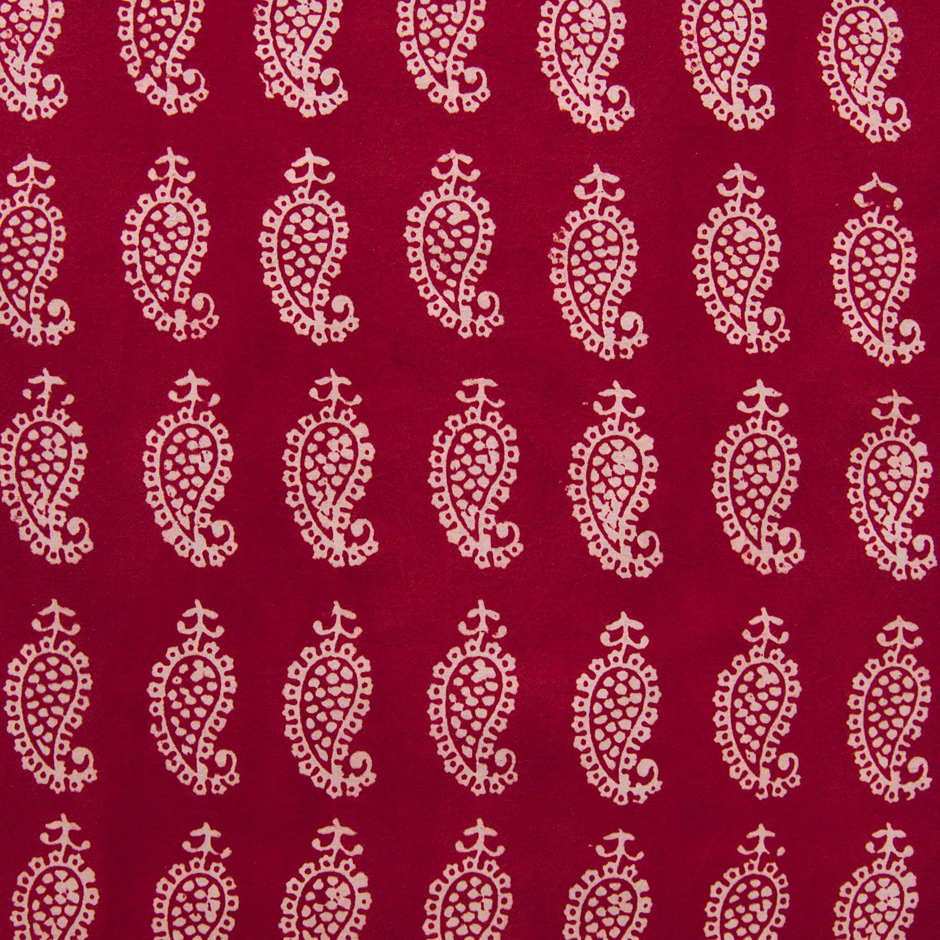 100% Block-Printed Cotton Fabric From India - Raindrops Design - Iron Rust Black & Alizarin Red Dyes - Flat - Live