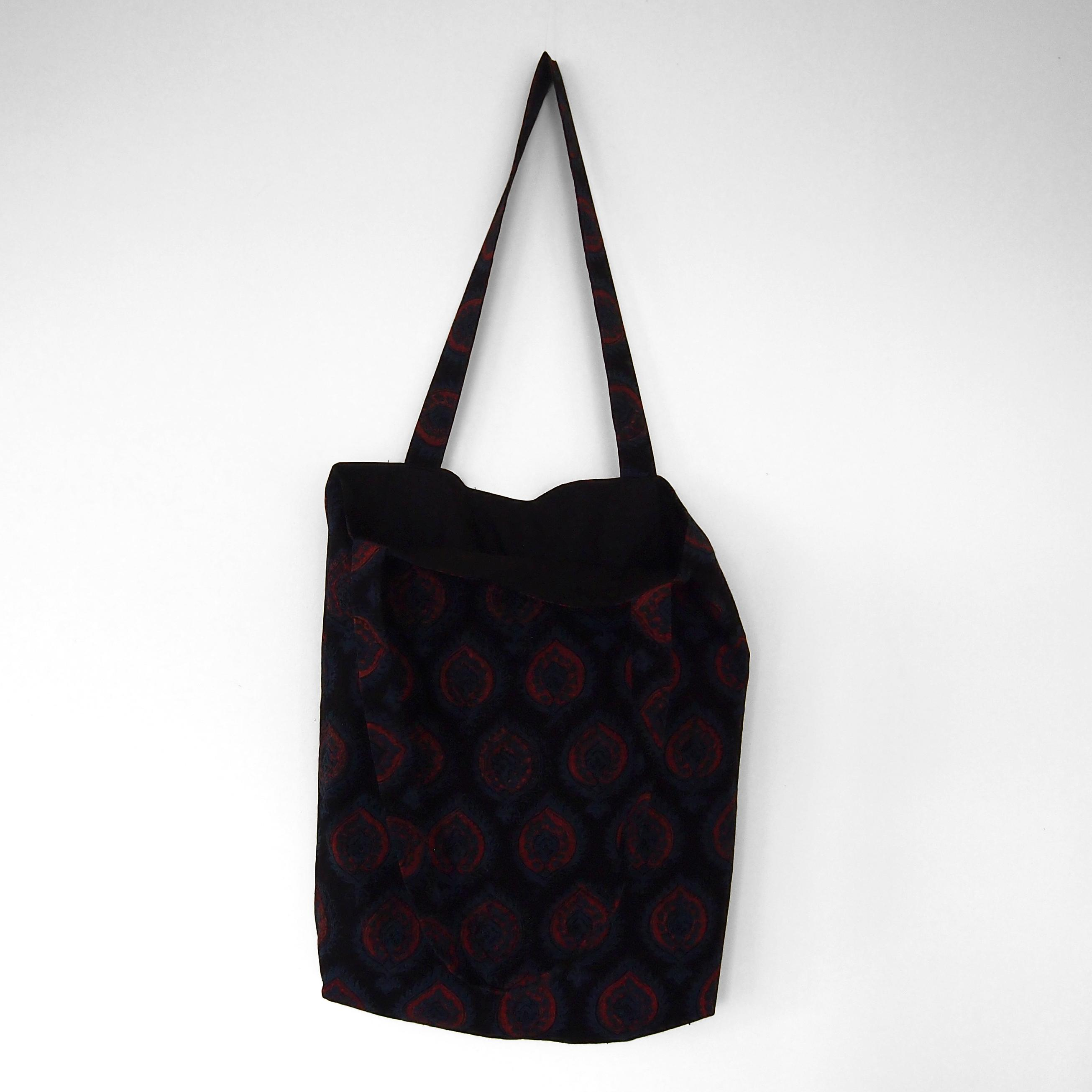 block printed cotton tote bag, natural dye, black, blue red crest design, lined with black cotton, open