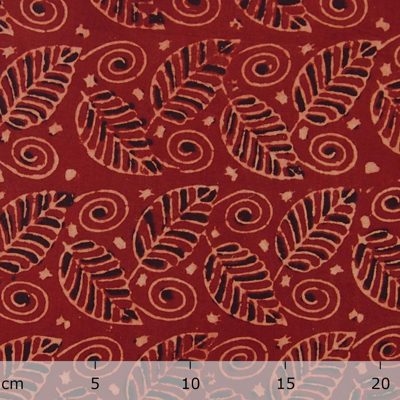 Block Printed Fabric, 100% Cotton, Ajrak Design: Red Madder Root Base, Black, Beige Foliage. Ruler, Sold Out