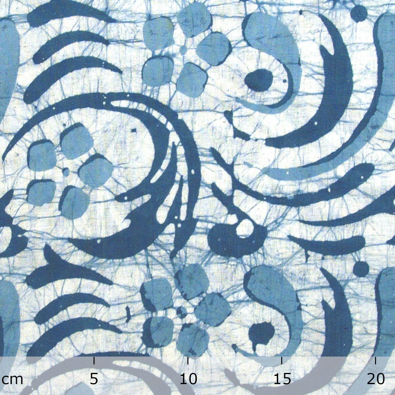 3 - SHA14 - 100% Block-Printed Batik Cotton Fabric From India - Batik - Blue Swirls - Ruler