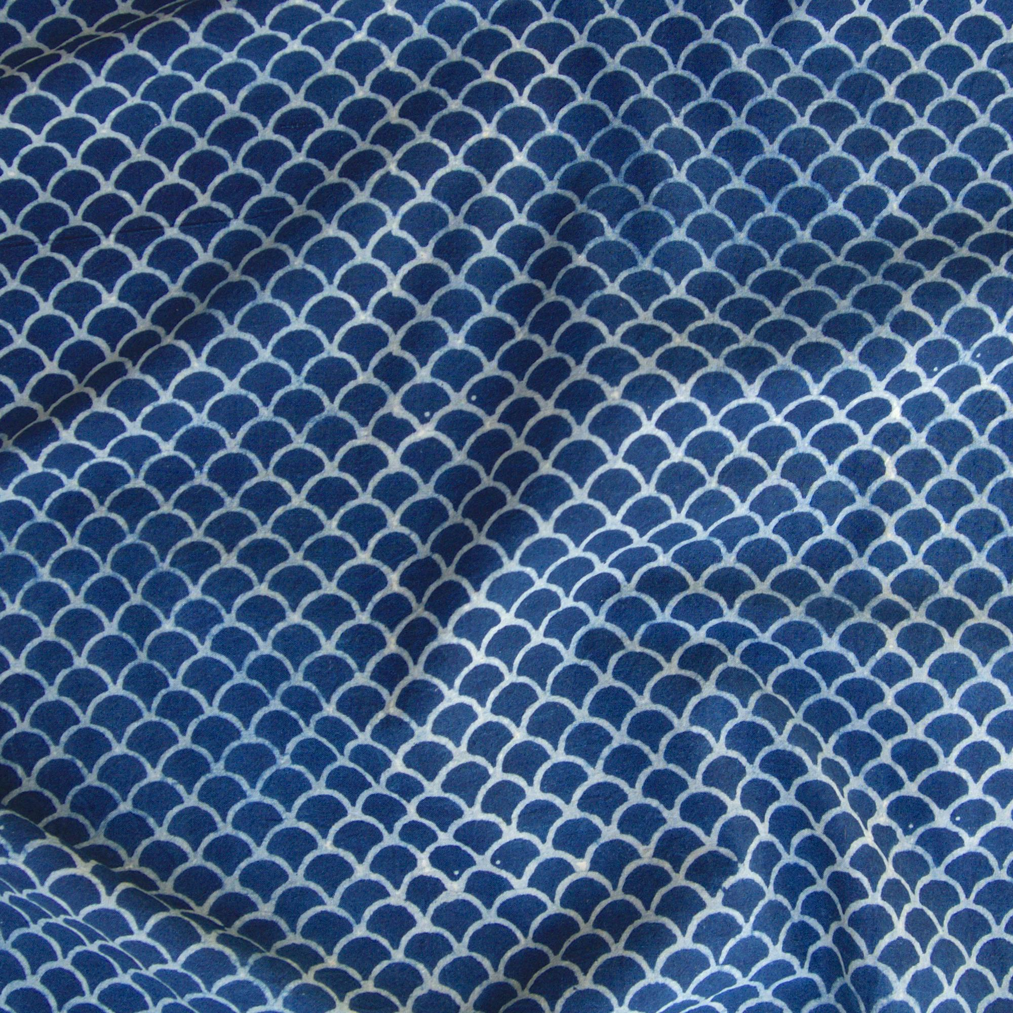 100% Block-Printed Cotton Fabric From India- Ajrak - Indigo White Resist Scales Print - Contrast
