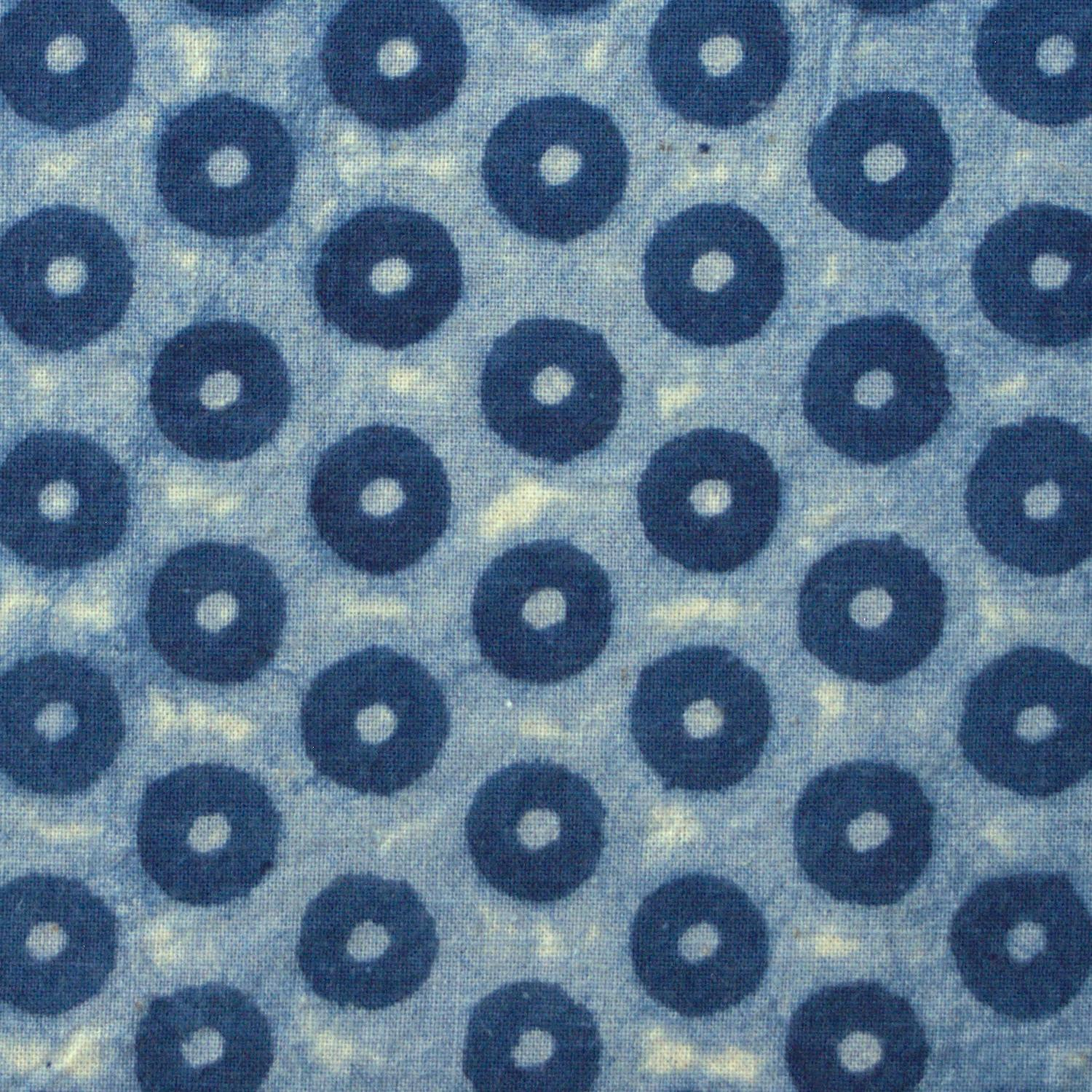 100% Block-Printed Cotton Fabric From India- Ajrak - Indigo White Resist Pins Print - Close Up