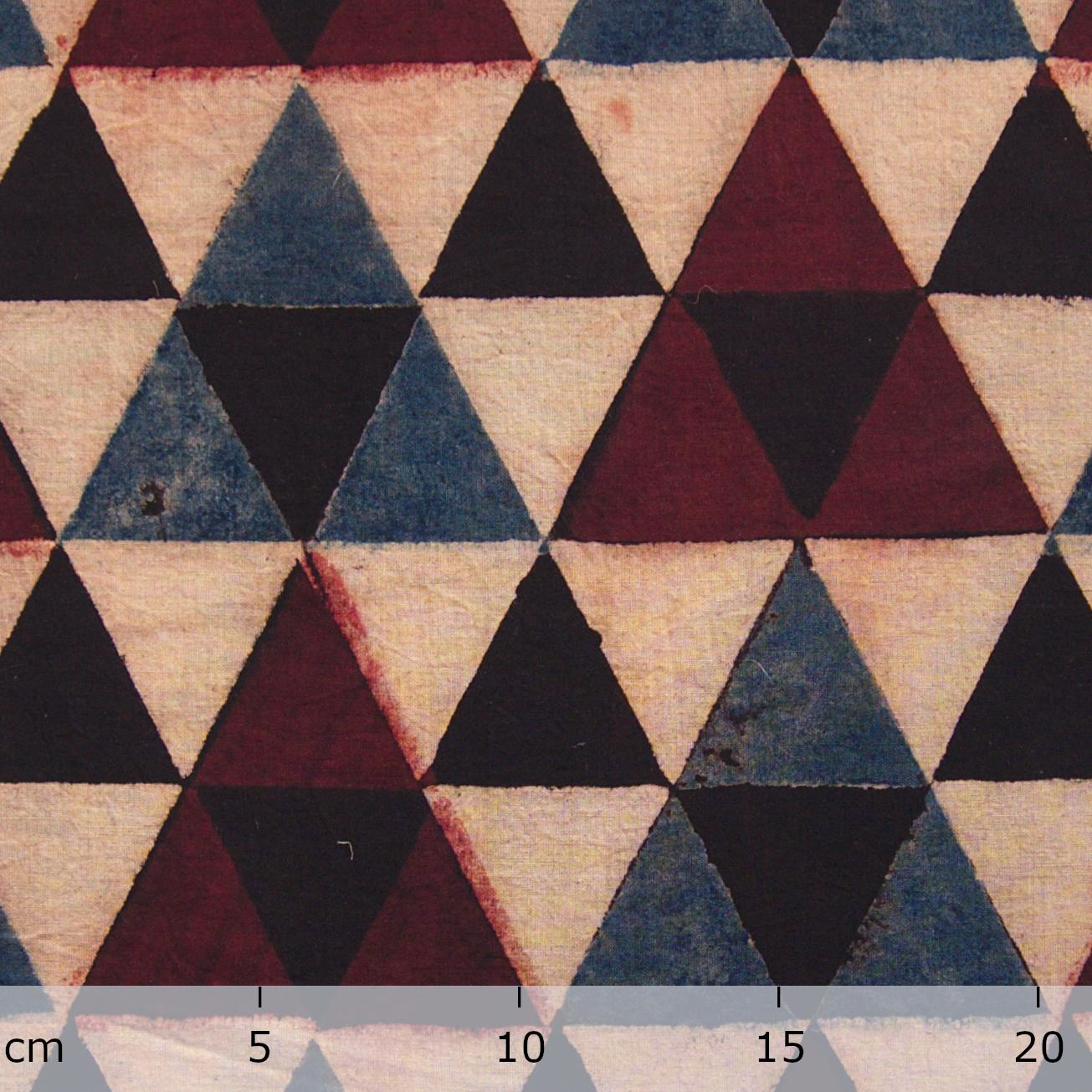 Block Printed Fabric, 100% Cotton, Ajrak Design: Beige Base, Small Black Triangle, Big Red, Blue Triangle. Ruler