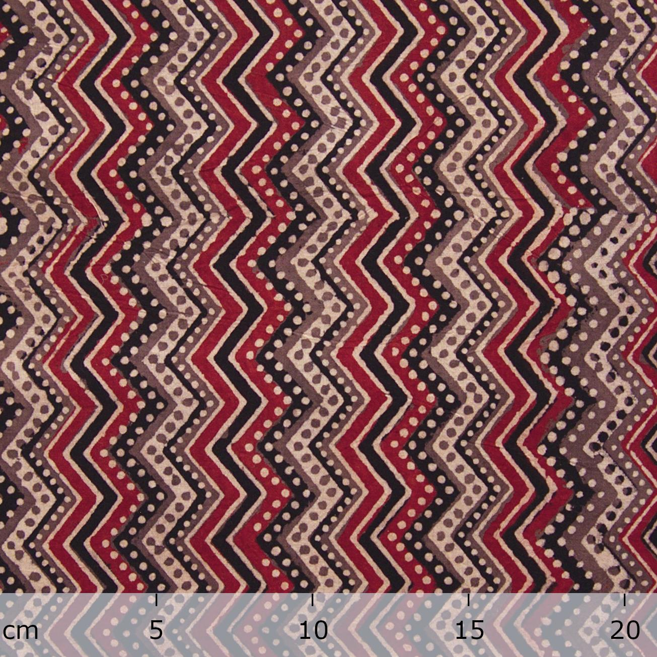 Block Printed Fabric, 100% Cotton, Ajrak Design: Beige Base, Coffee Brown, Iron Black, Madder Red ZigZag. Ruler