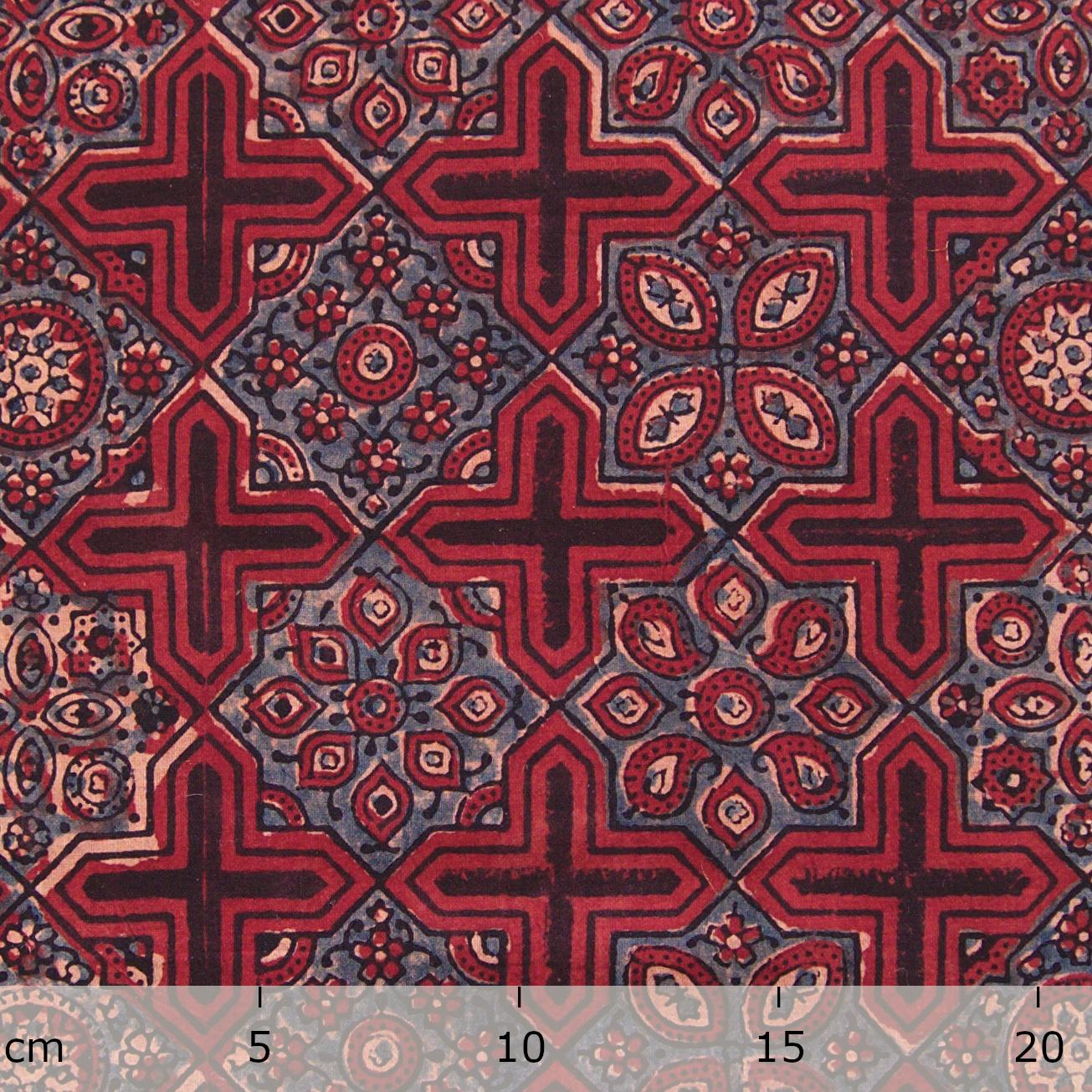 Block Printed Fabric, 100% Cotton, Ajrak Design: Red Base, Black Cross, Blue Design. Ruler
