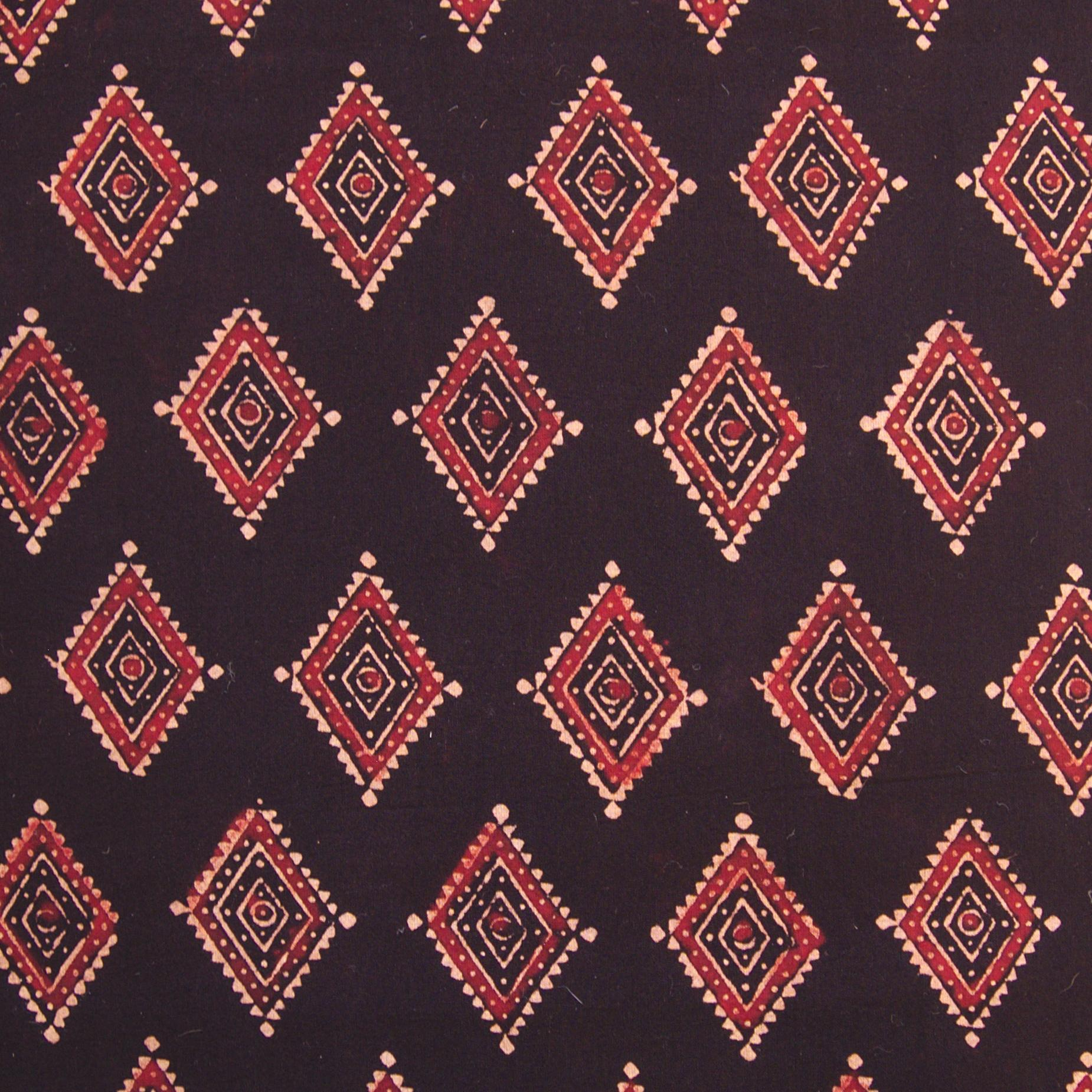 Block Printed Fabric, 100% Cotton, Ajrak Design: Black Base, Red, Beige Diamond. Close Up