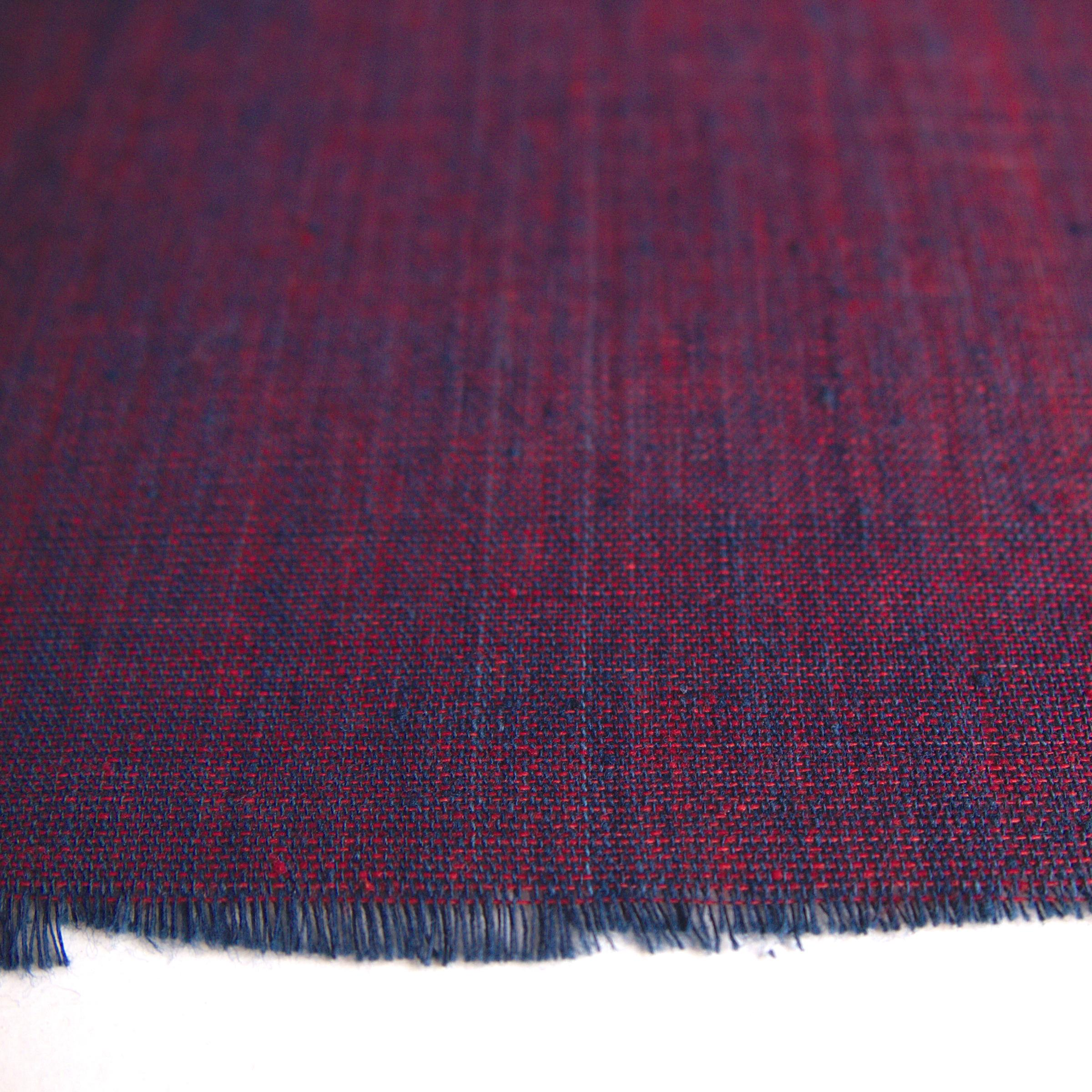 100 % Handloom Woven Cotton - Cross Colour - Natural Indigo Warp, Red Alizarin Weft - Cross Colour - Close Up