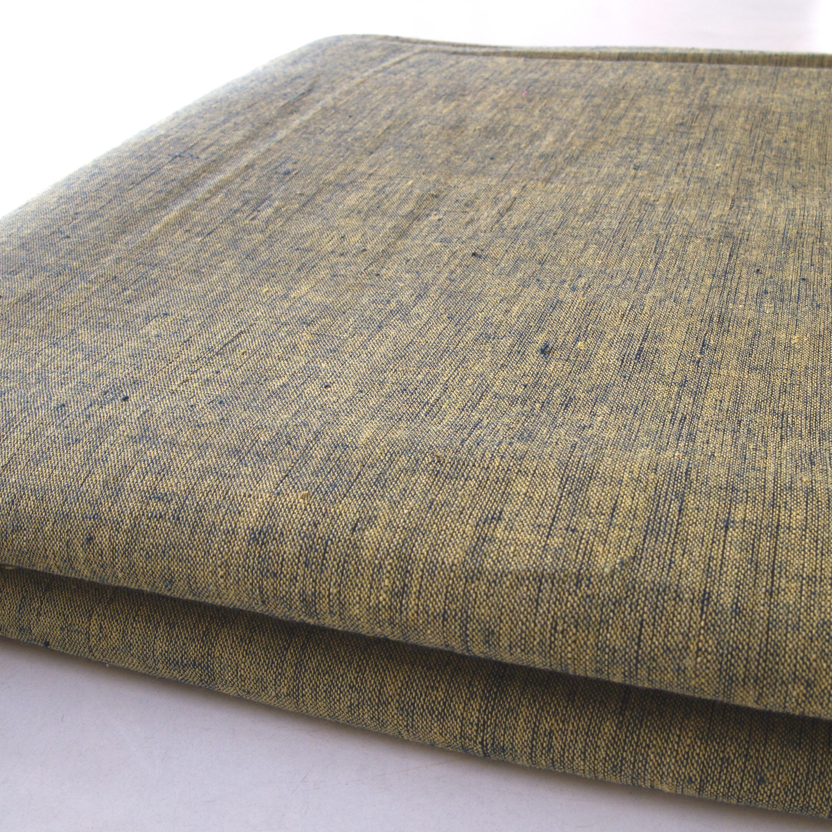 100 % Handloom Woven Cotton - Cross Colour - Pomegranate Yellow Warp, Natural Indigo Weft - Bolt