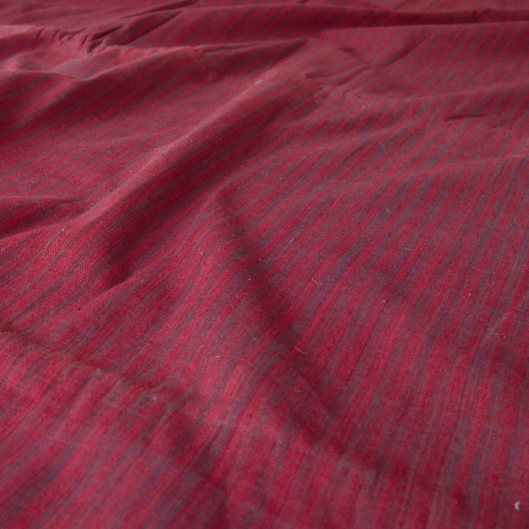 100% Handloom Woven Cotton - Dented Stripes - Red Alizarin Dented Warp, Natural Indigo Green Warp - Contrast