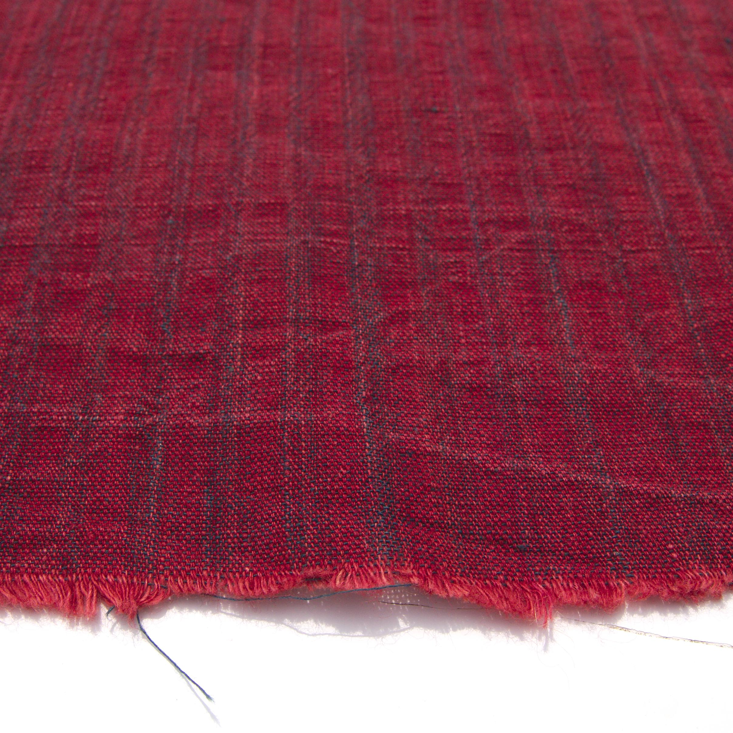 100% Handloom Woven Cotton - Dented Stripes - Red Alizarin Dented Warp, Natural Indigo Green Warp - Close Up