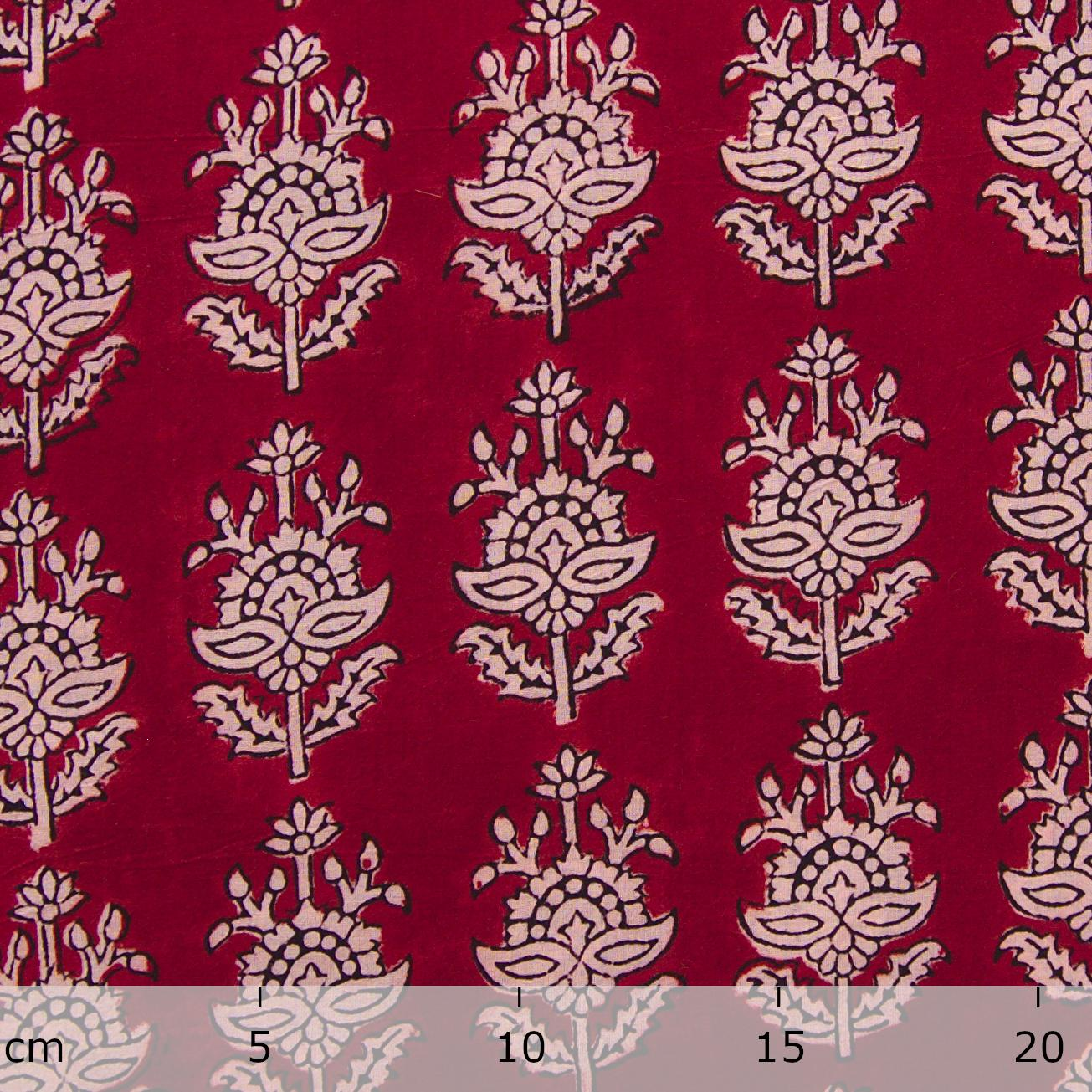 100% Block-Printed Cotton Fabric From India - Talkin' About Design - Iron Rust Black & Alizarin Red Dyes - Ruler - Live