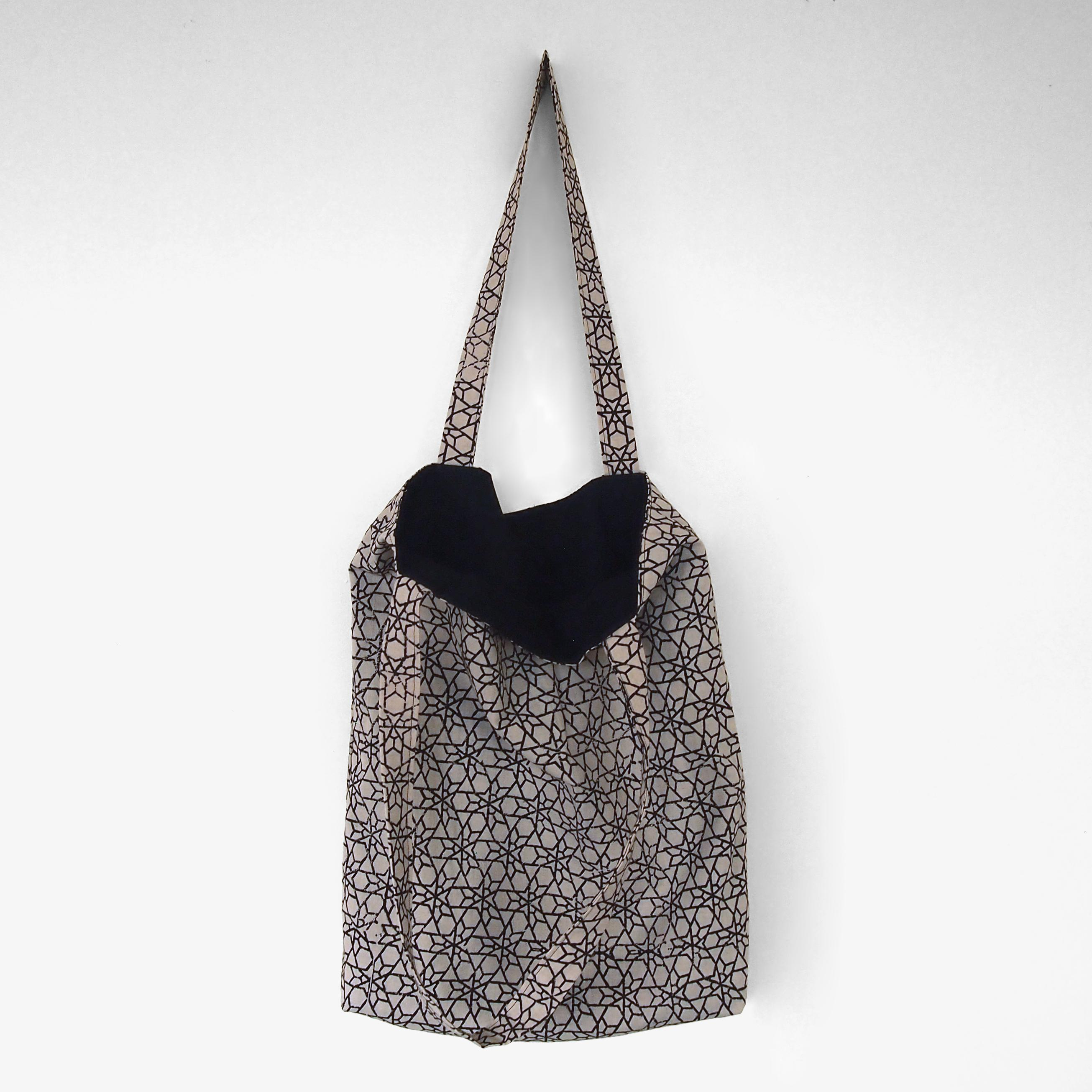 block printed cotton tote bag, natural dye, beige, black meteor design, lined with black cotton, open