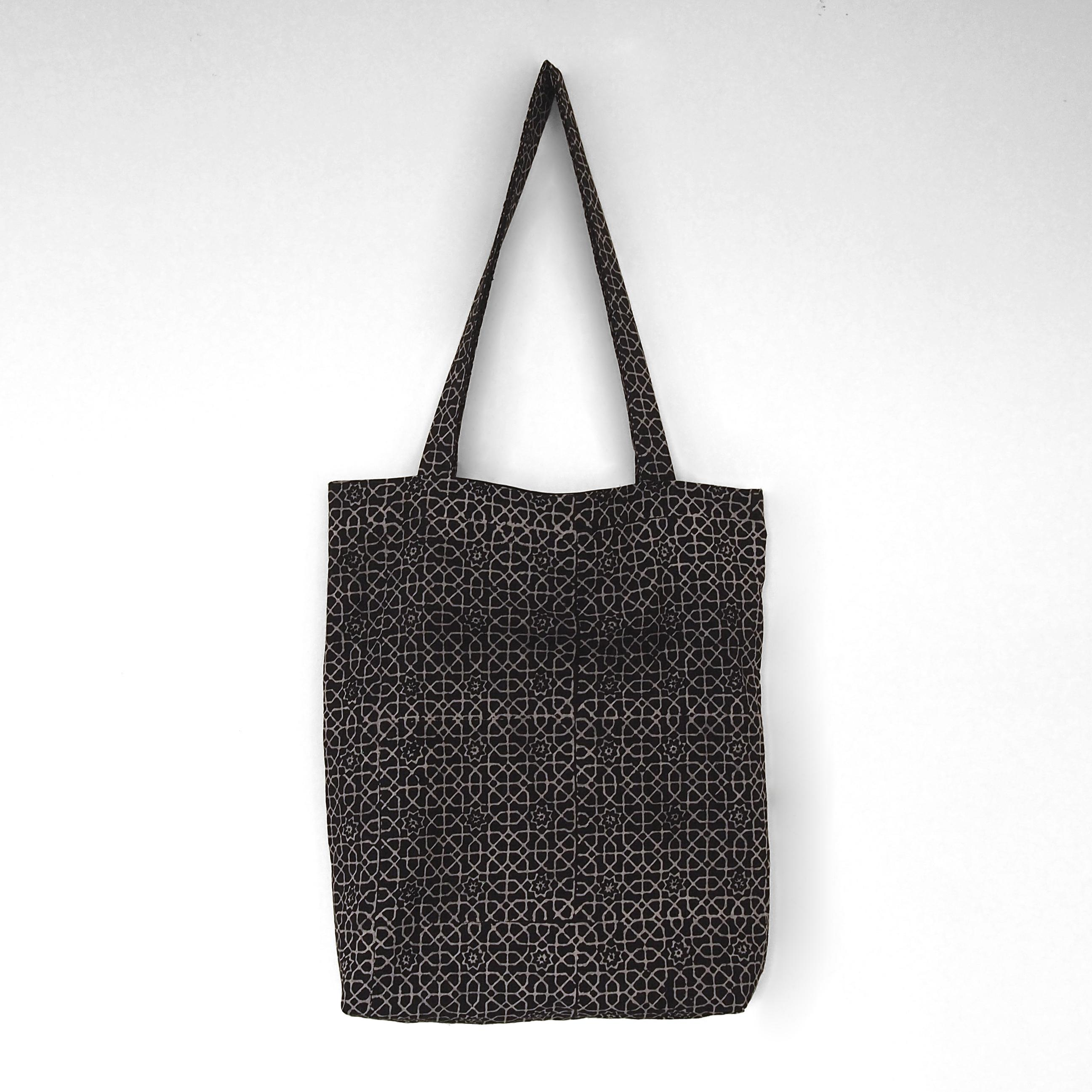 block printed cotton tote bag, natural dye, black, beige octagon design, lined with black cotton, closed