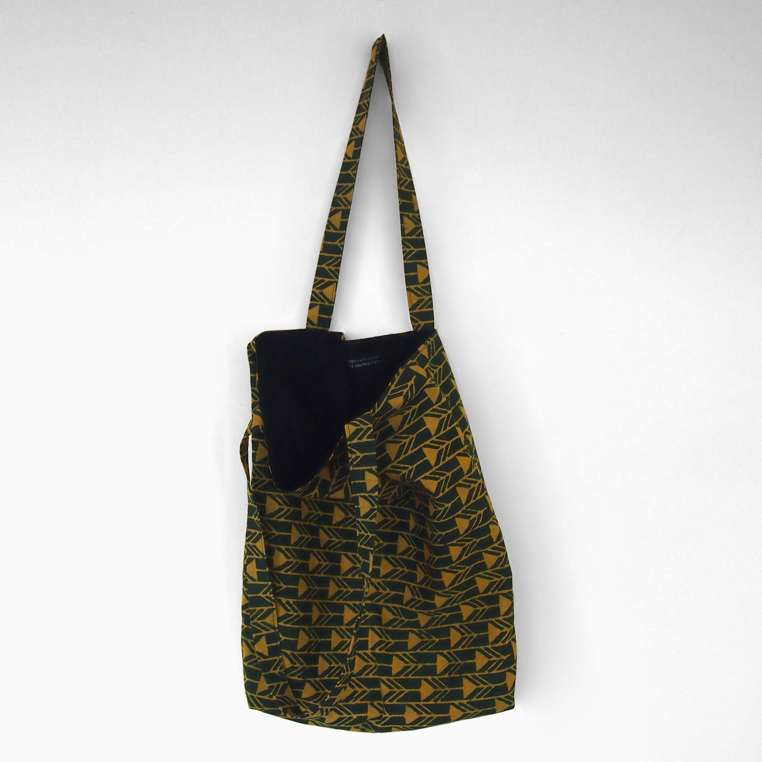 block printed cotton tote bag, green, yellow arrow design, natural dye, lined with black cotton, open