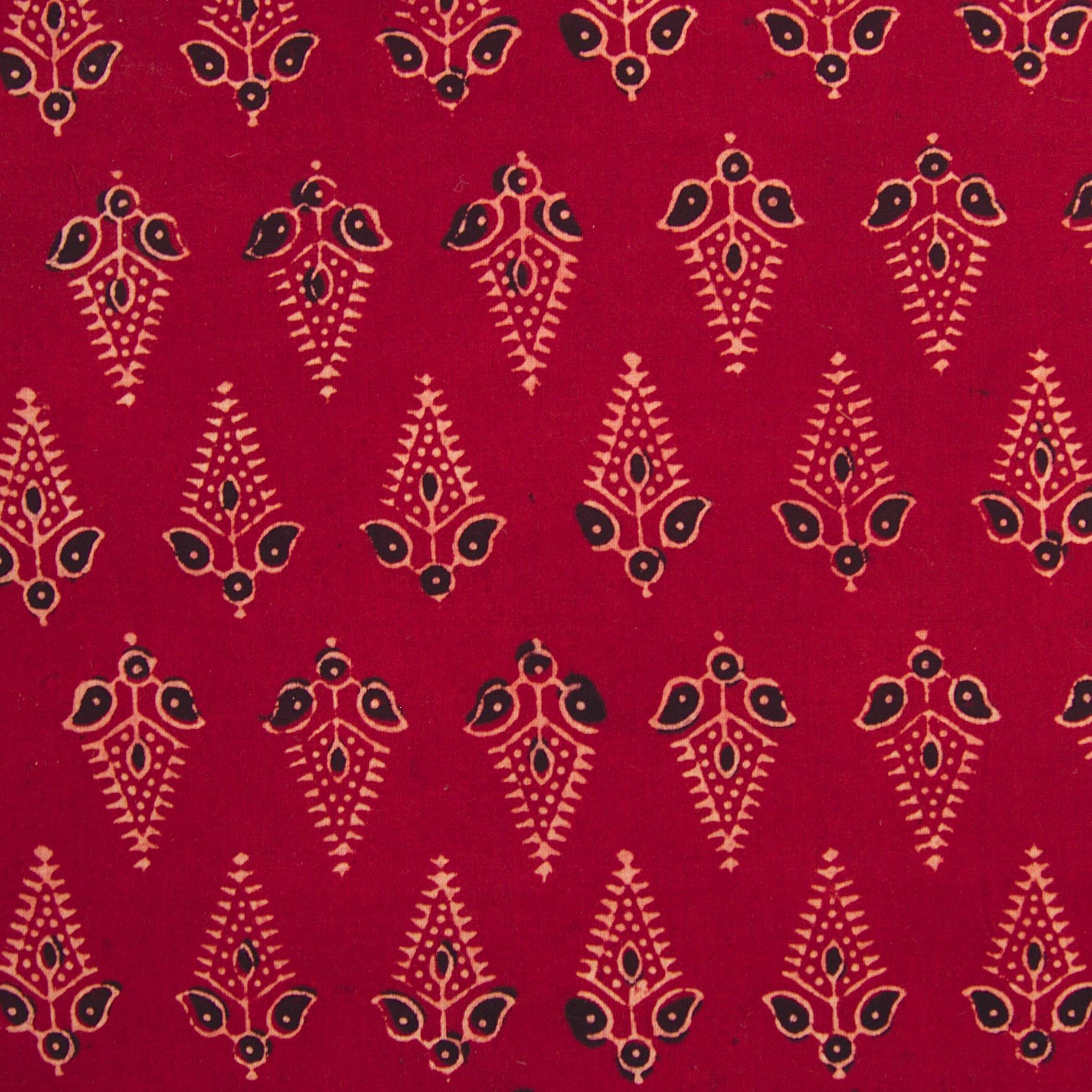 Block Printed Fabric, 100% Cotton, Ajrak Design: Red Madder Root Base, Black, Beige Fern. Close Up