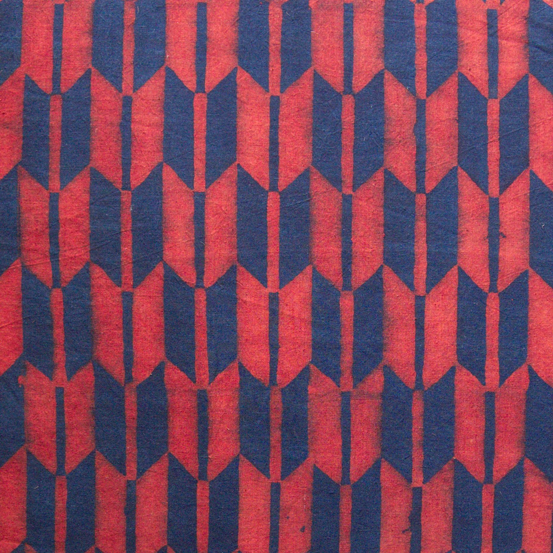 100% Block-Printed Cotton Fabric From India- Ajrak - Indigo Alizarin Fletching Print