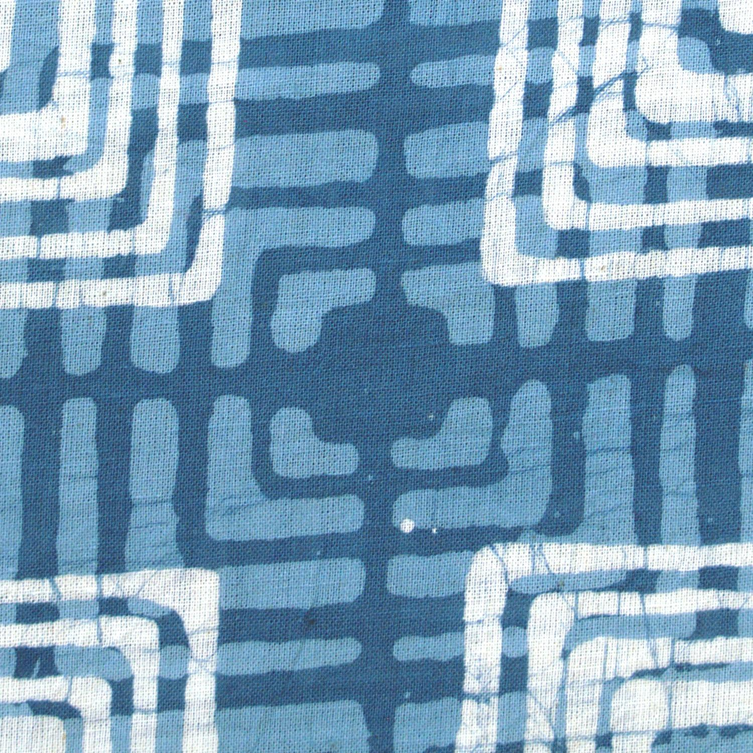 4 - SHA11 - 100% Block-Printed Batik Cotton Fabric From India - Batik - Blue Mirage - Close Up