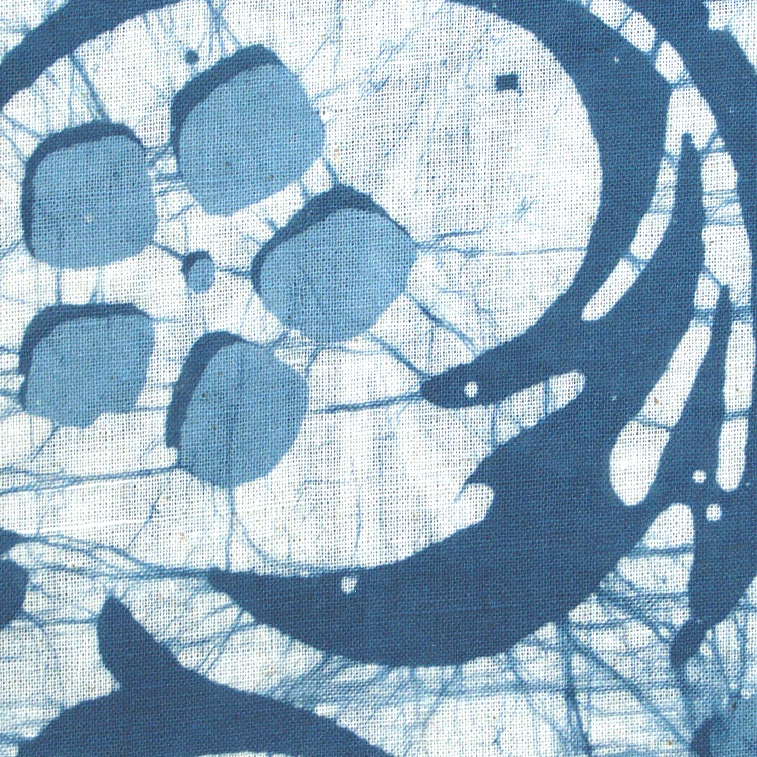 4 - SHA14 - 100% Block-Printed Batik Cotton Fabric From India - Batik - Blue Swirls - Close Up
