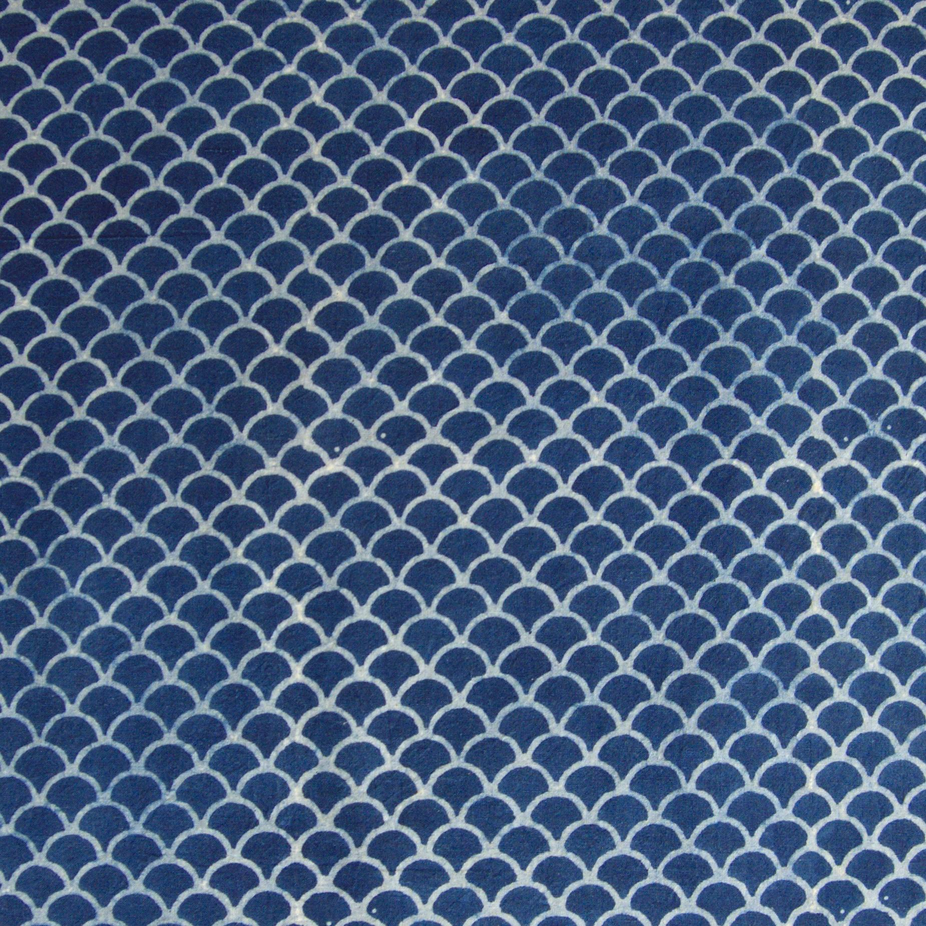 100% Block-Printed Cotton Fabric From India- Ajrak - Indigo White Resist Scales Print