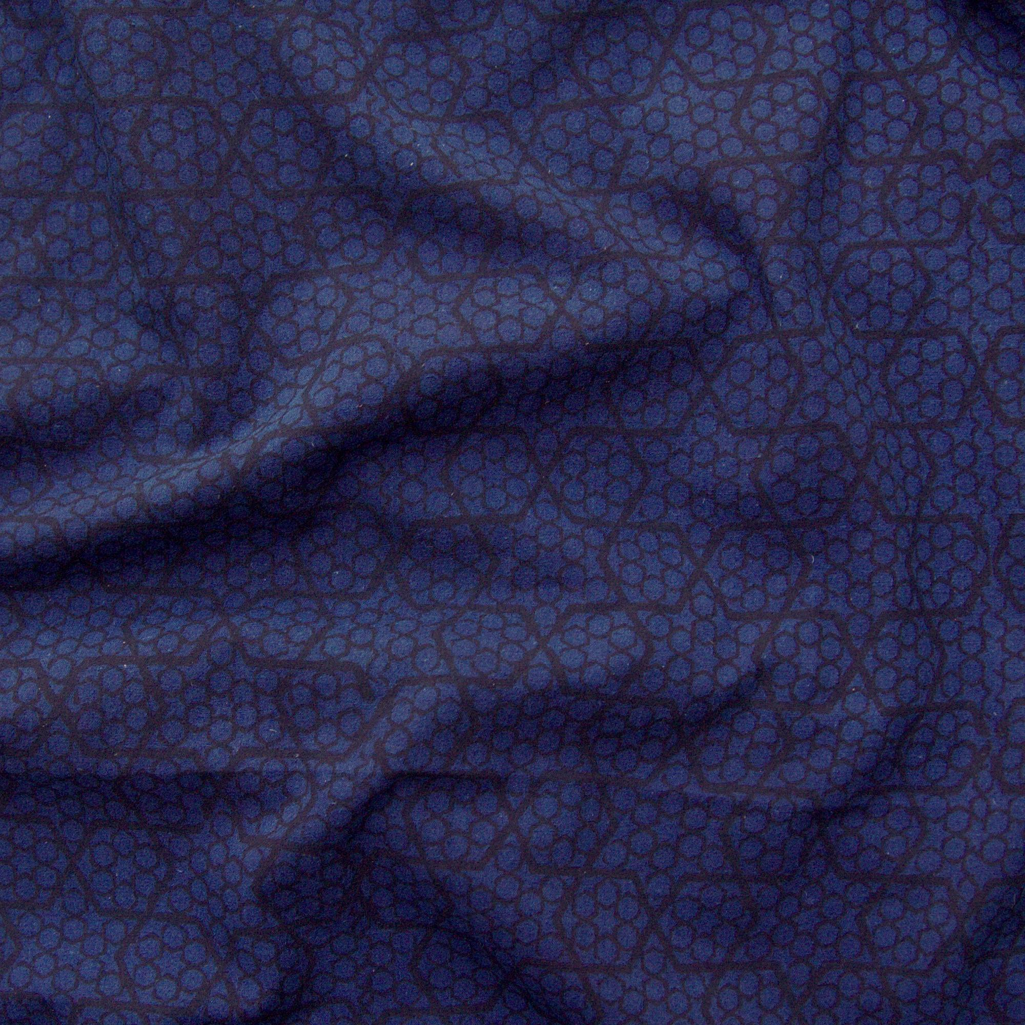 100% Block-Printed Cotton Fabric from India - Ajrak - Indigo Black Honey Comb Print - Contrast