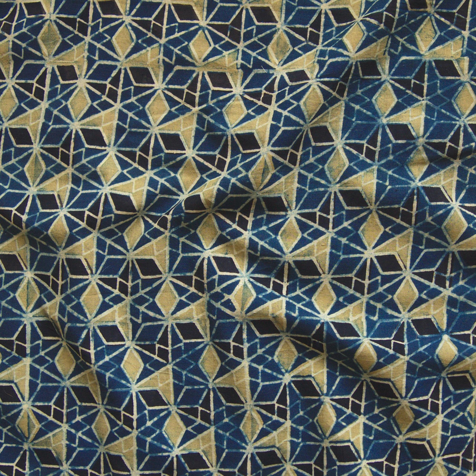 Block Printed Fabric, 100% Cotton, Ajrak Design: Blue Base, Black, Lime Wing. Contrast