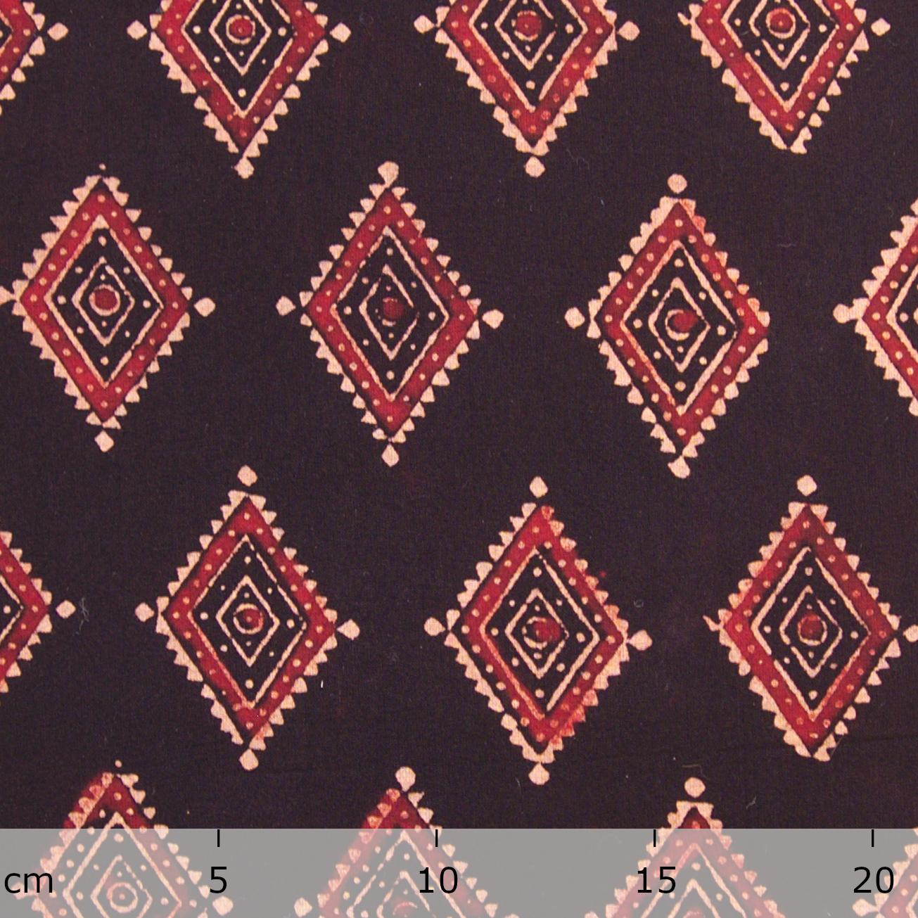 Block Printed Fabric, 100% Cotton, Ajrak Design: Black Base, Red, Beige Diamond. Ruler
