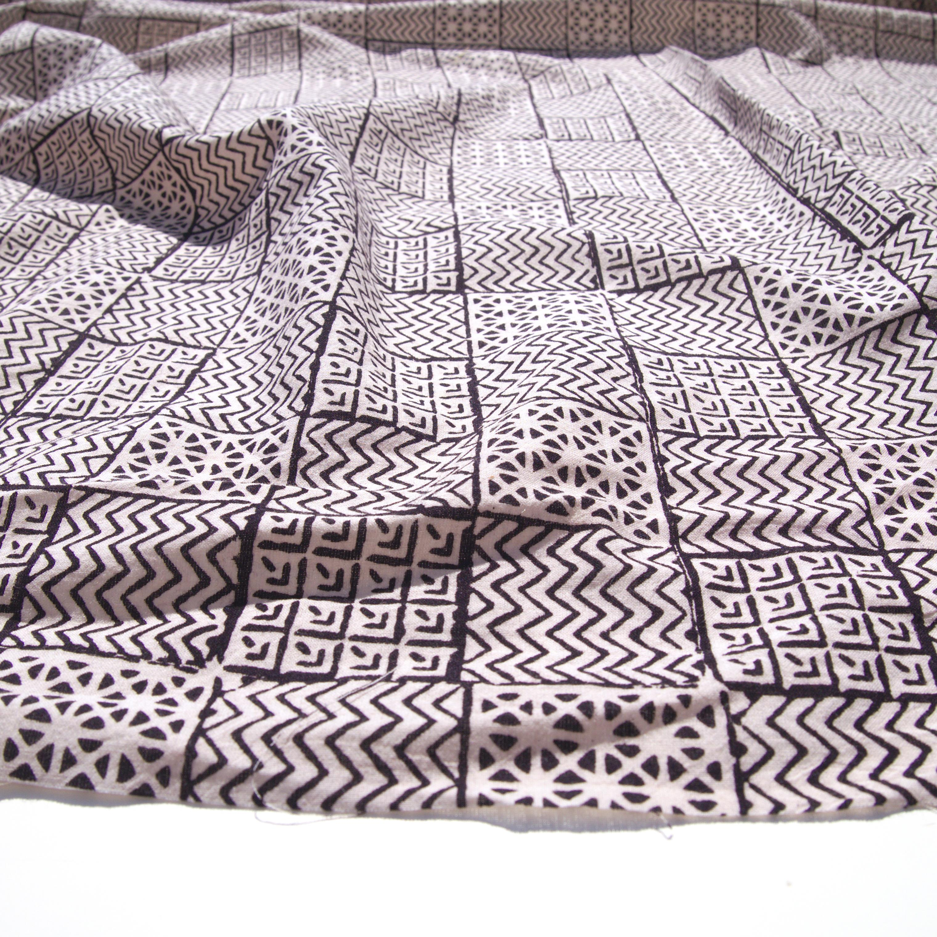 100% Block-Printed Cotton Fabric From India- Bagh - Iron Rust Black Combo Print - Angle