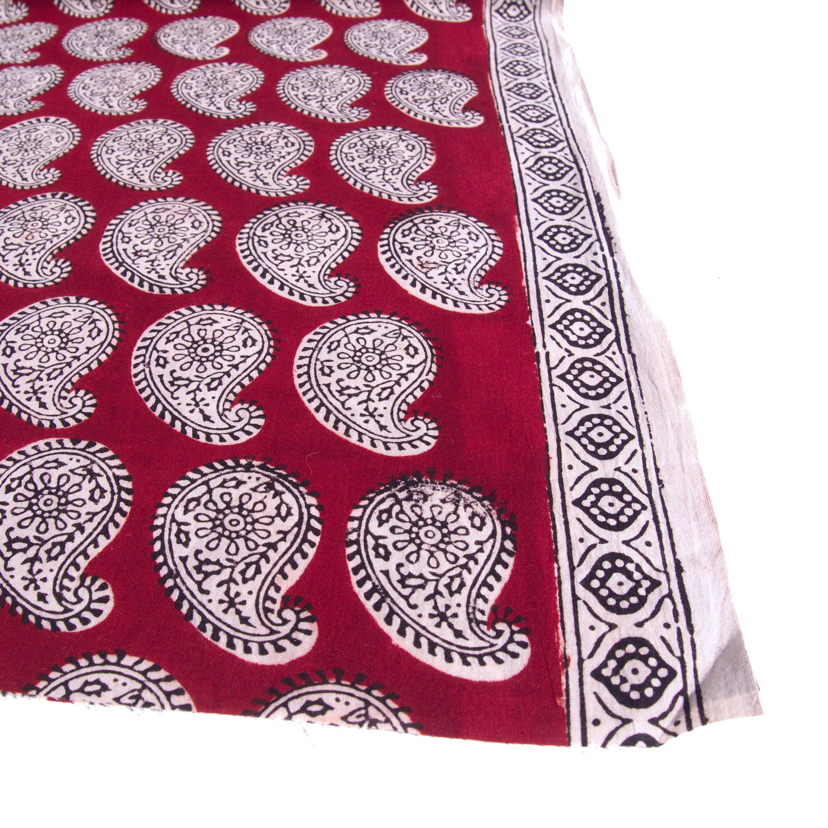 100% Block-Printed Cotton Fabric From India- Bagh - Alizarin Red Paisley Print - Selvedge