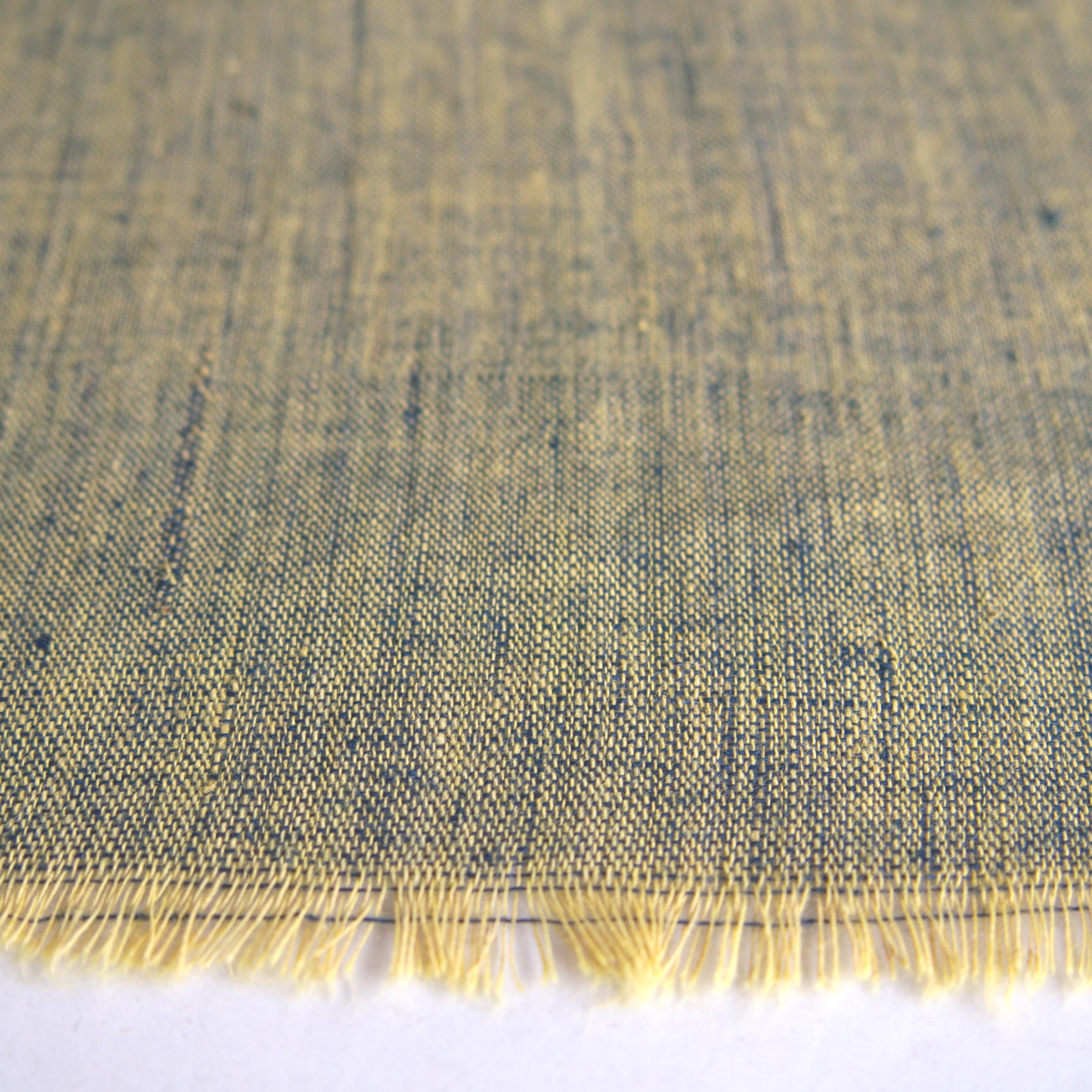 100 % Handloom Woven Cotton - Cross Colour - Pomegranate Yellow Warp, Natural Indigo Weft - Close Up