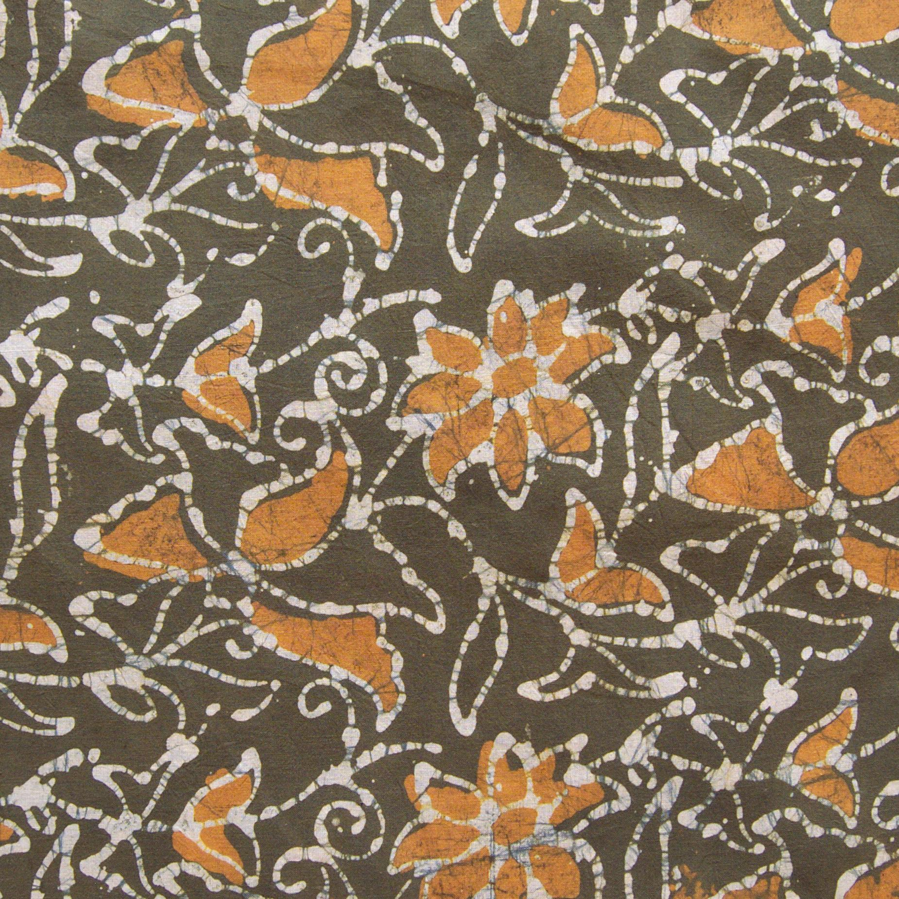 3 - SHA17 - 100% Block-Printed Batik Cotton Fabric From India - Clematis Motif - Flat - Live