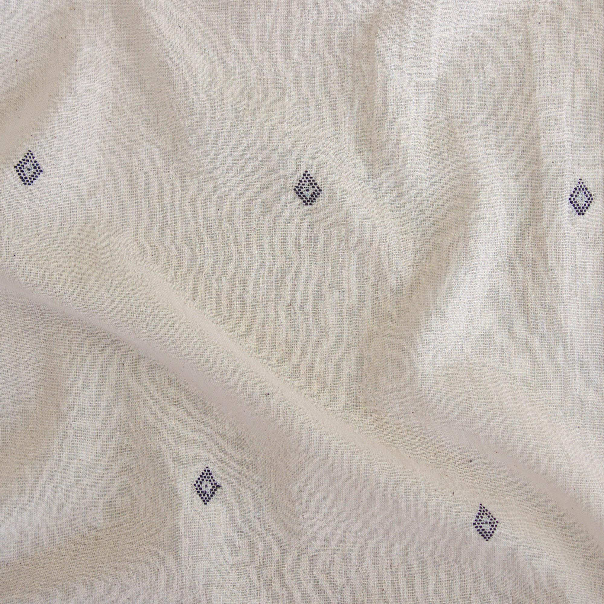Handloom-Woven Organic Kala Cotton Fabric from India - Plain 1 by 1 Weave With Extra Weft - Diamond Design - Contrast