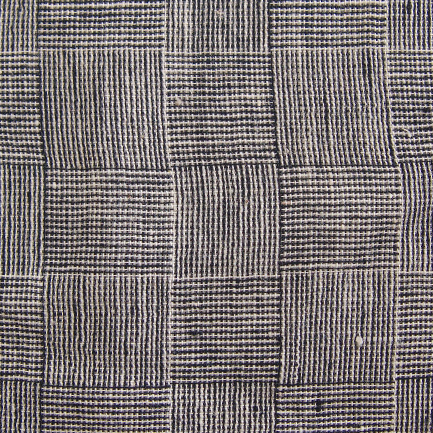 Indian Handloom-Woven Organic Kala Cotton Fabric - Plain 1 by 1 Weave - Checkers Design - Black Reactive Thread Dye - Close Up