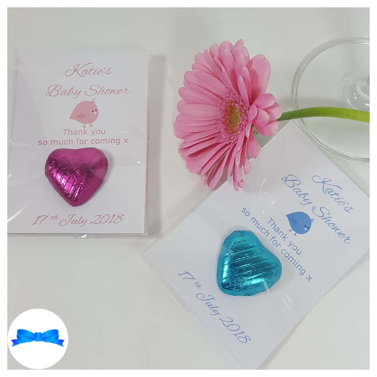 Baby shower chocolate heart favours with pink and blue baby birds