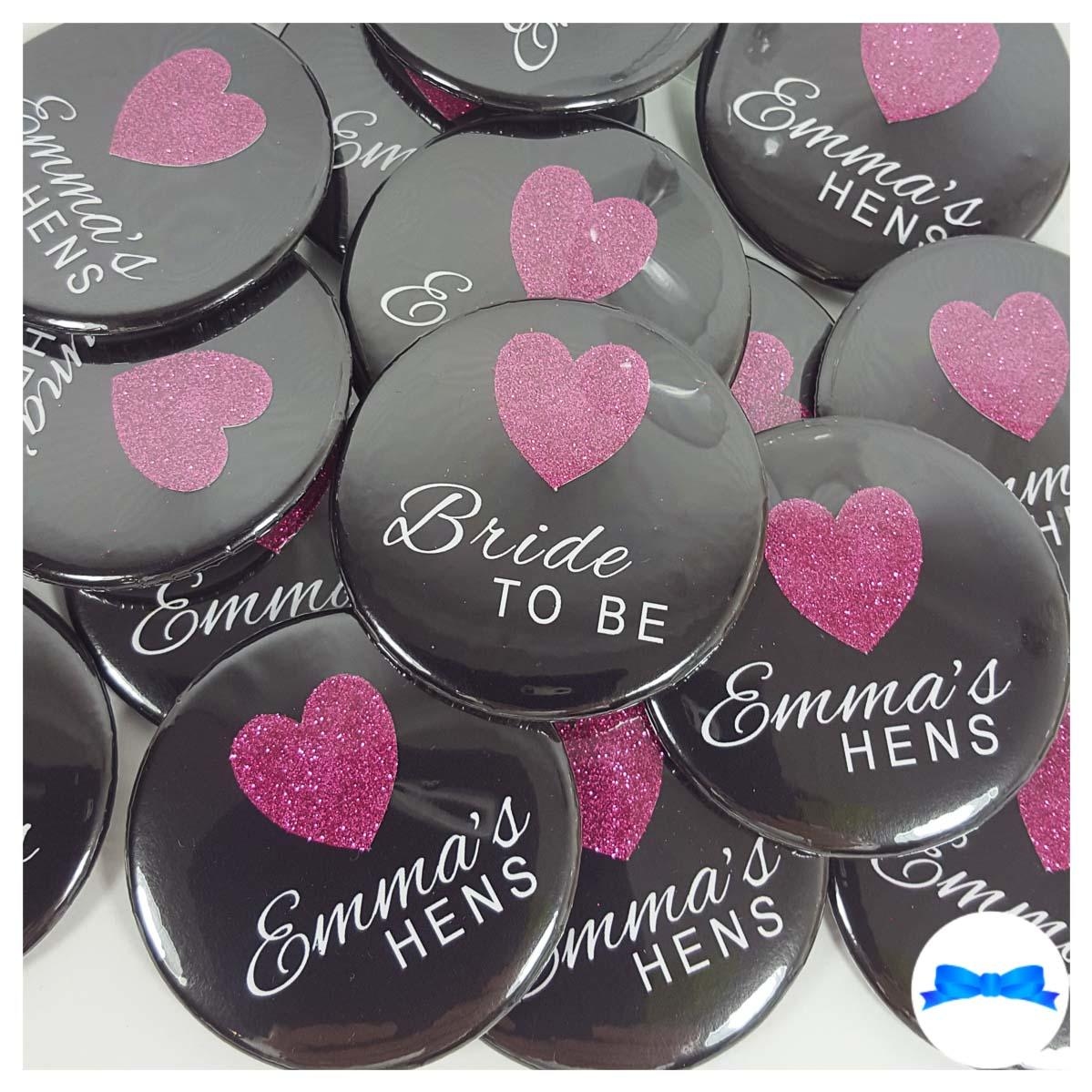 Black hen party badges with purple glitter