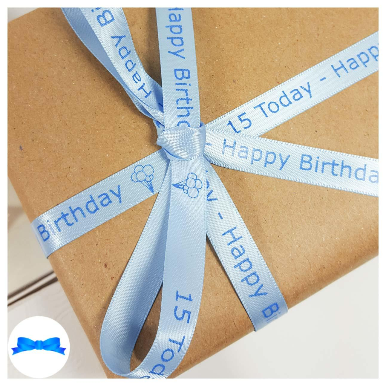 Blue personalised ribbon on gift