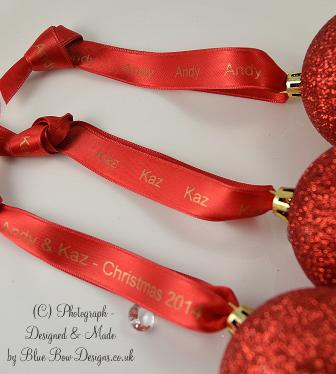 Red and gold personalised ribbon