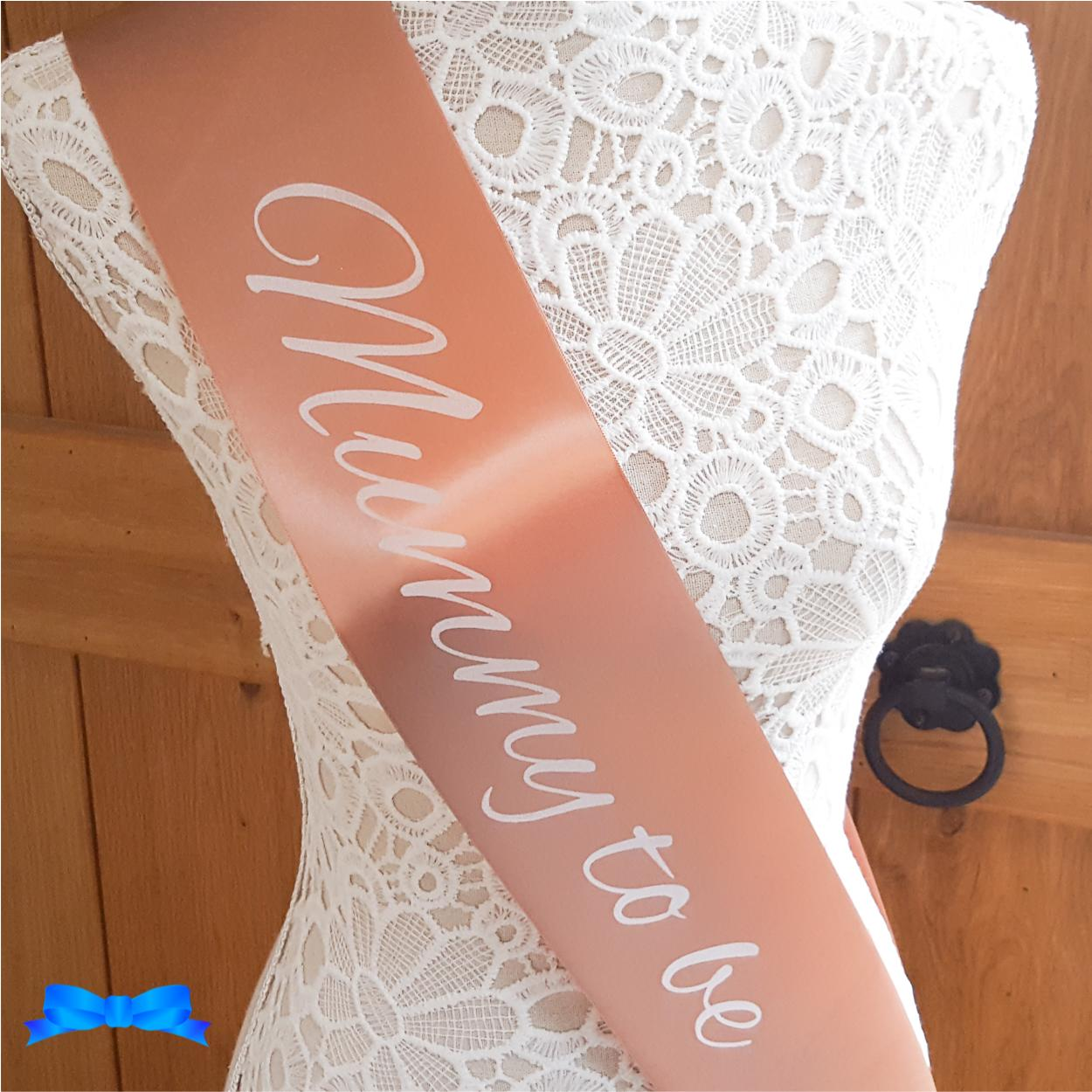 Personalised mummy to be rose gold sash with white text