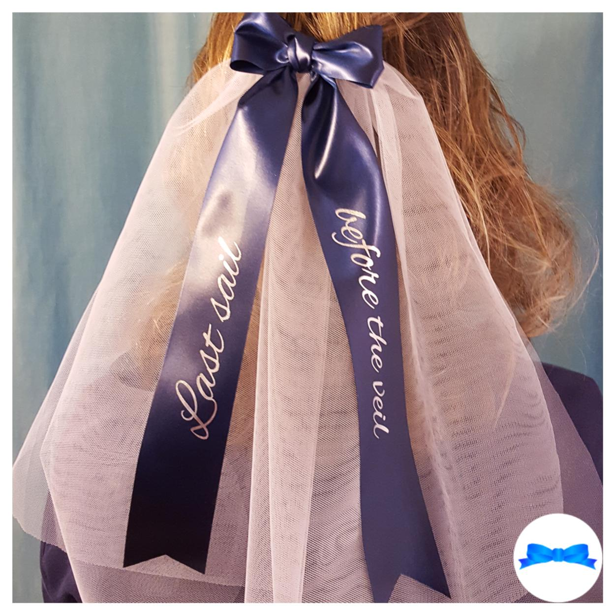 Last sail before the veil hen party veil navy blue ribbon and silver print